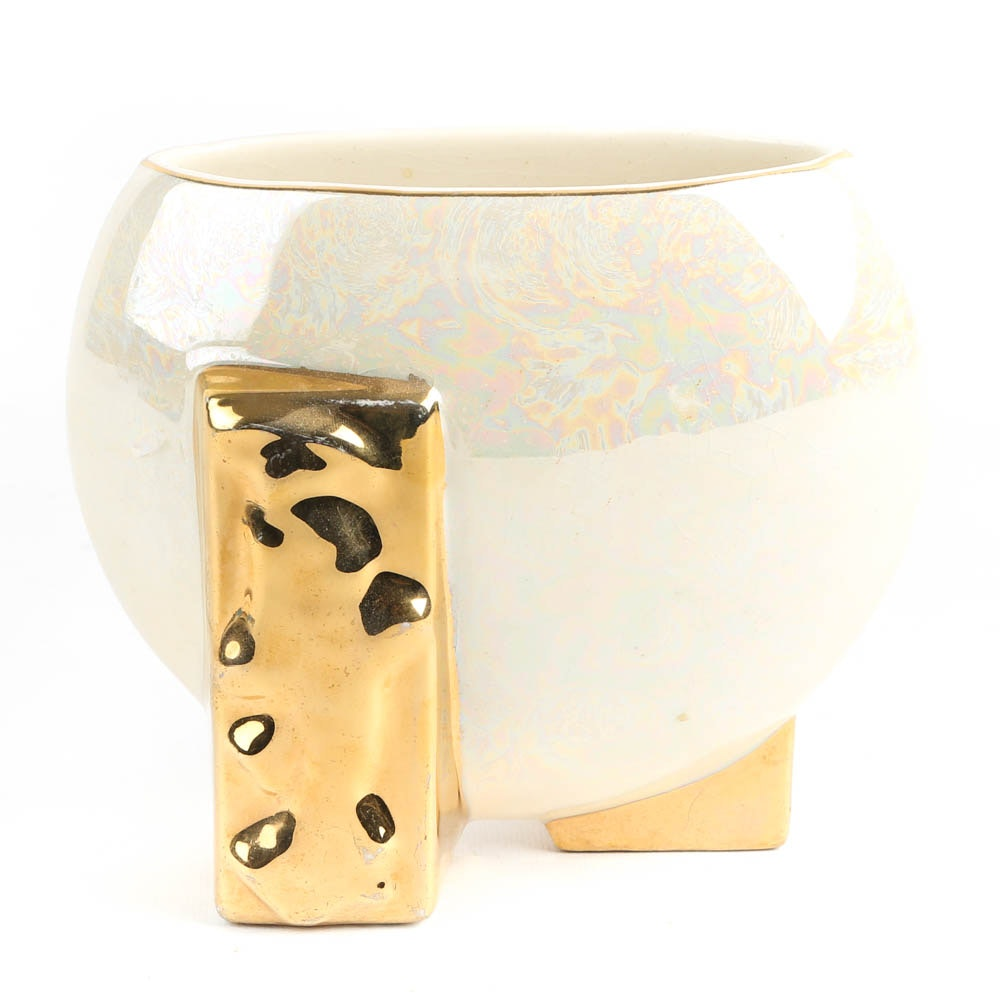 Opalescent Vase with 24K Gold Detailing