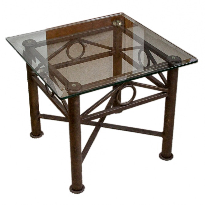 Glass Topped Metal End Table