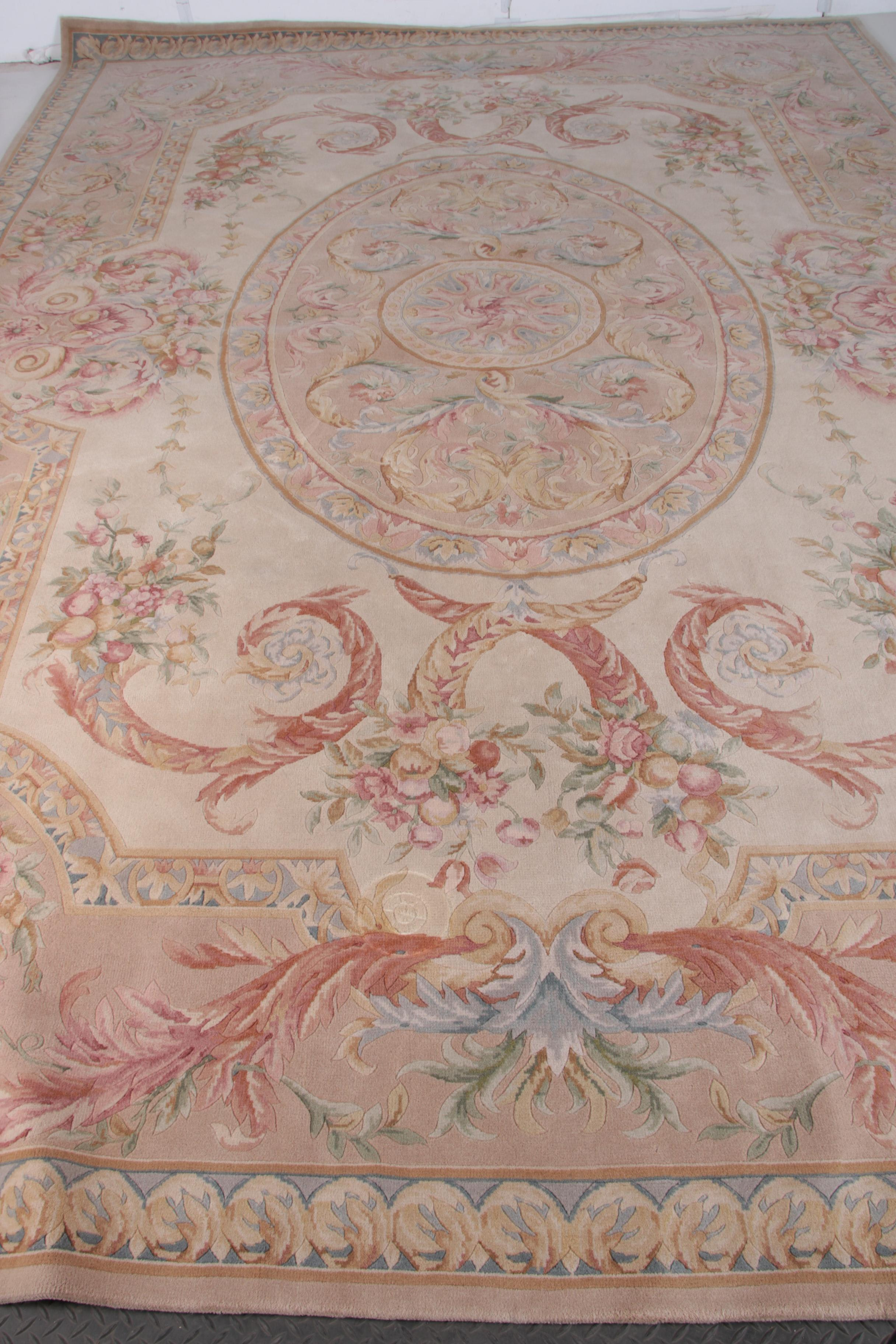 Large Semi-Antique Hand-Knotted Savonnerie-Style Area Rug