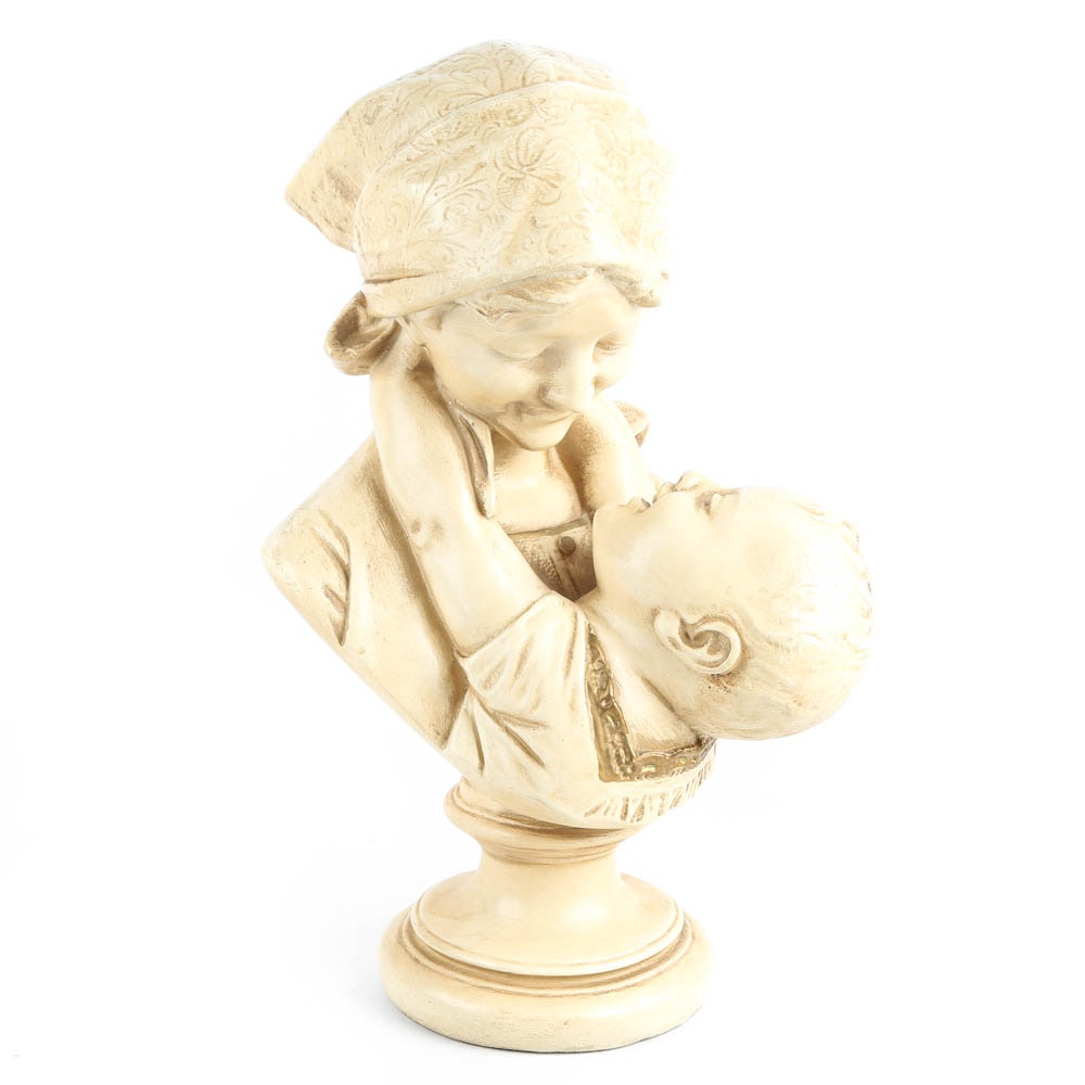 Reproduction Italian Alabaster Bust of Mother and Child after Emilio Fiaschi