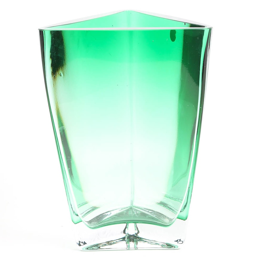 Polish Emerald Green Glass Vase Ebth