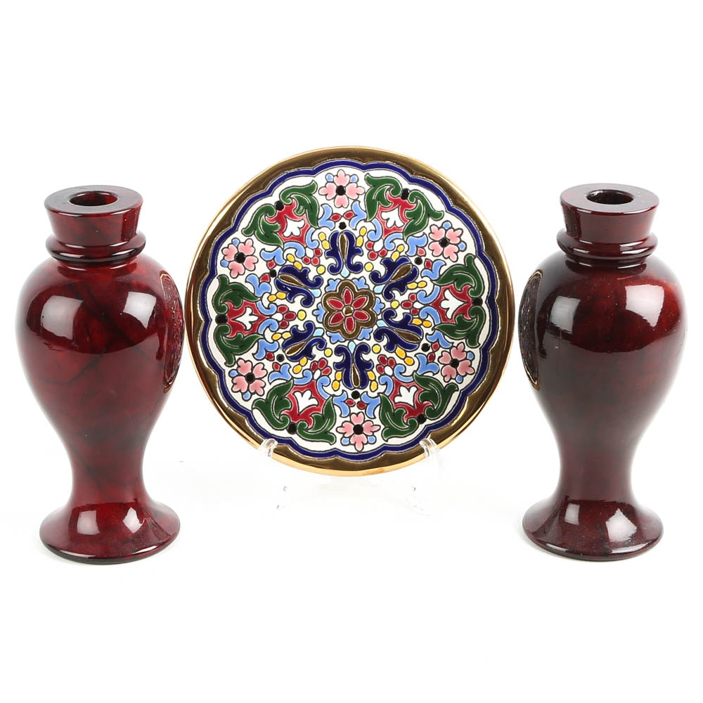 Italian Stone Candle Holders and Trivet