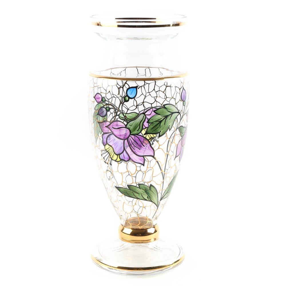 Italain Hand Painted Art Glass Vase