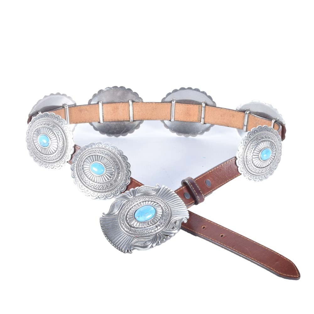 Silver Tone and Faux Turquoise Native American Style Concho Belt
