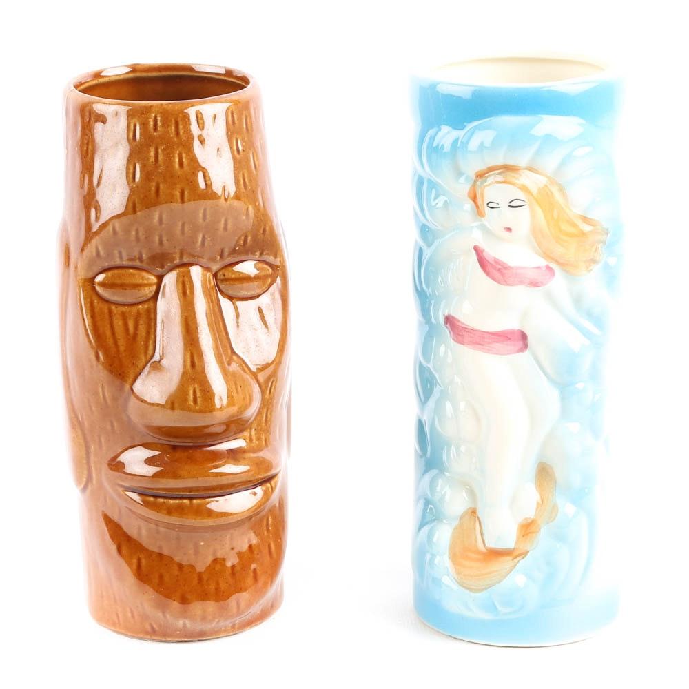 Vintage Ceramic Tiki Vases