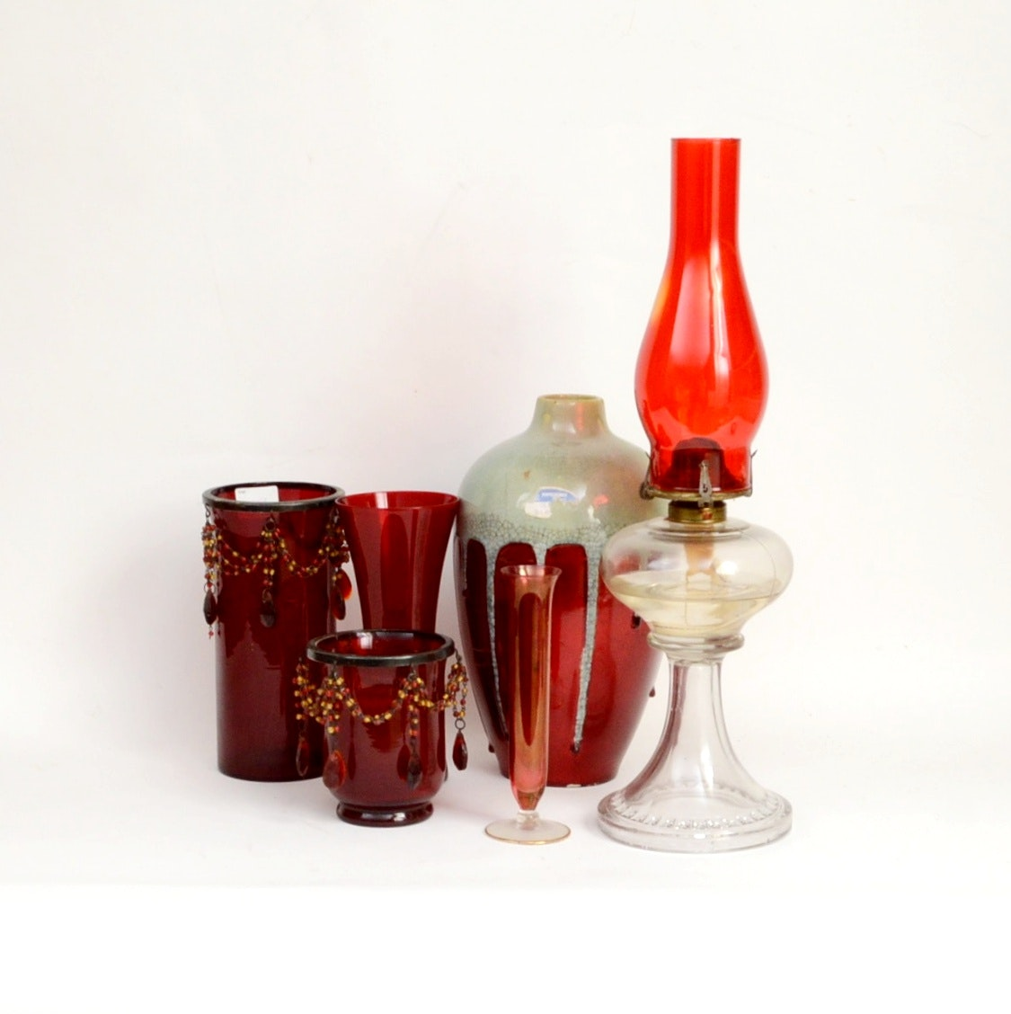 Antique Oil Lamp with Red Glass and Red Glass Decor