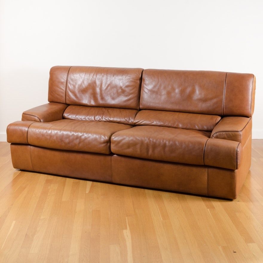 Brown Leather Modern Style Sofa By Maurice Villency