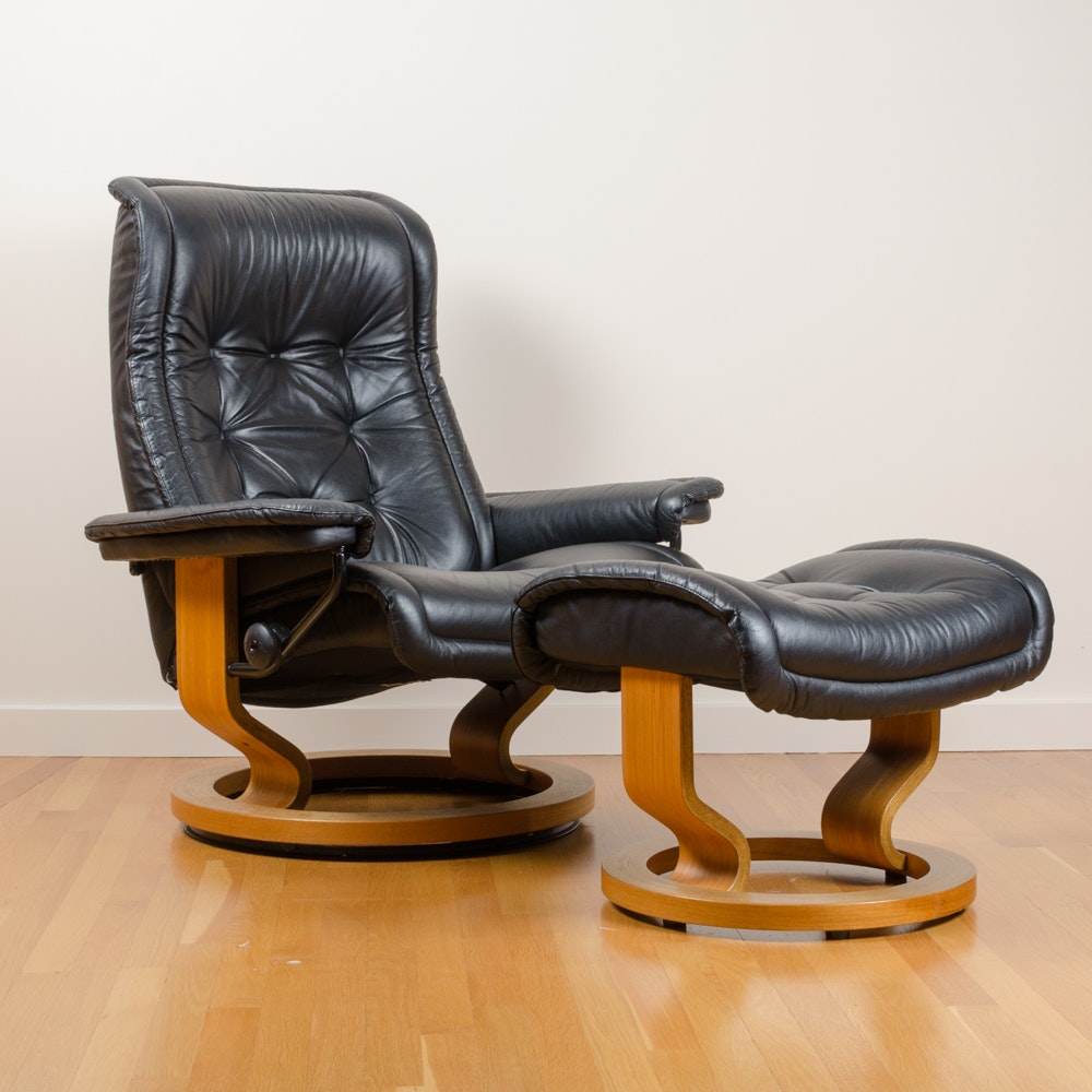 """Stressless"" Recliner with Ottoman by Ekornes"