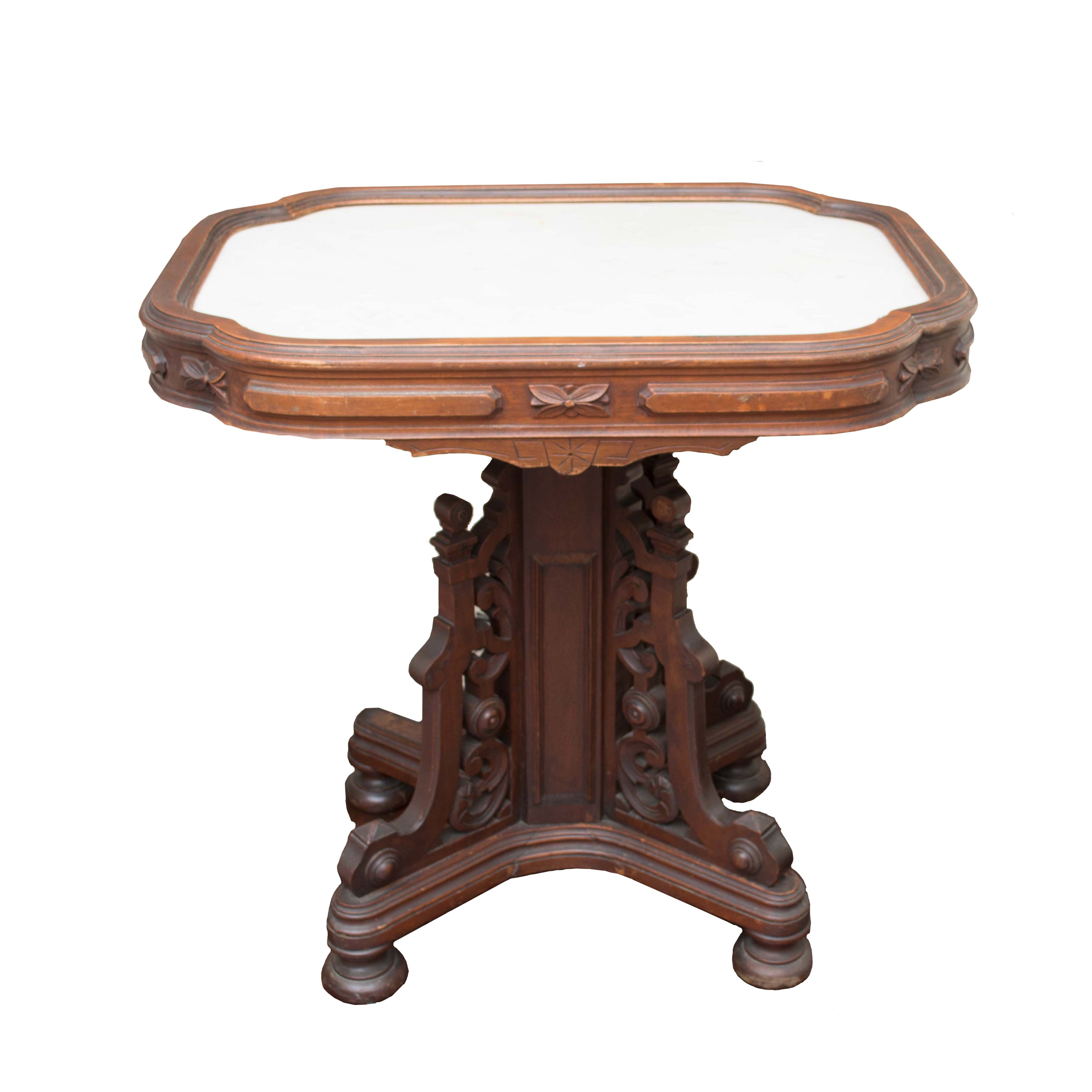 Antique Victorian Eastlake Marble Top Side Table