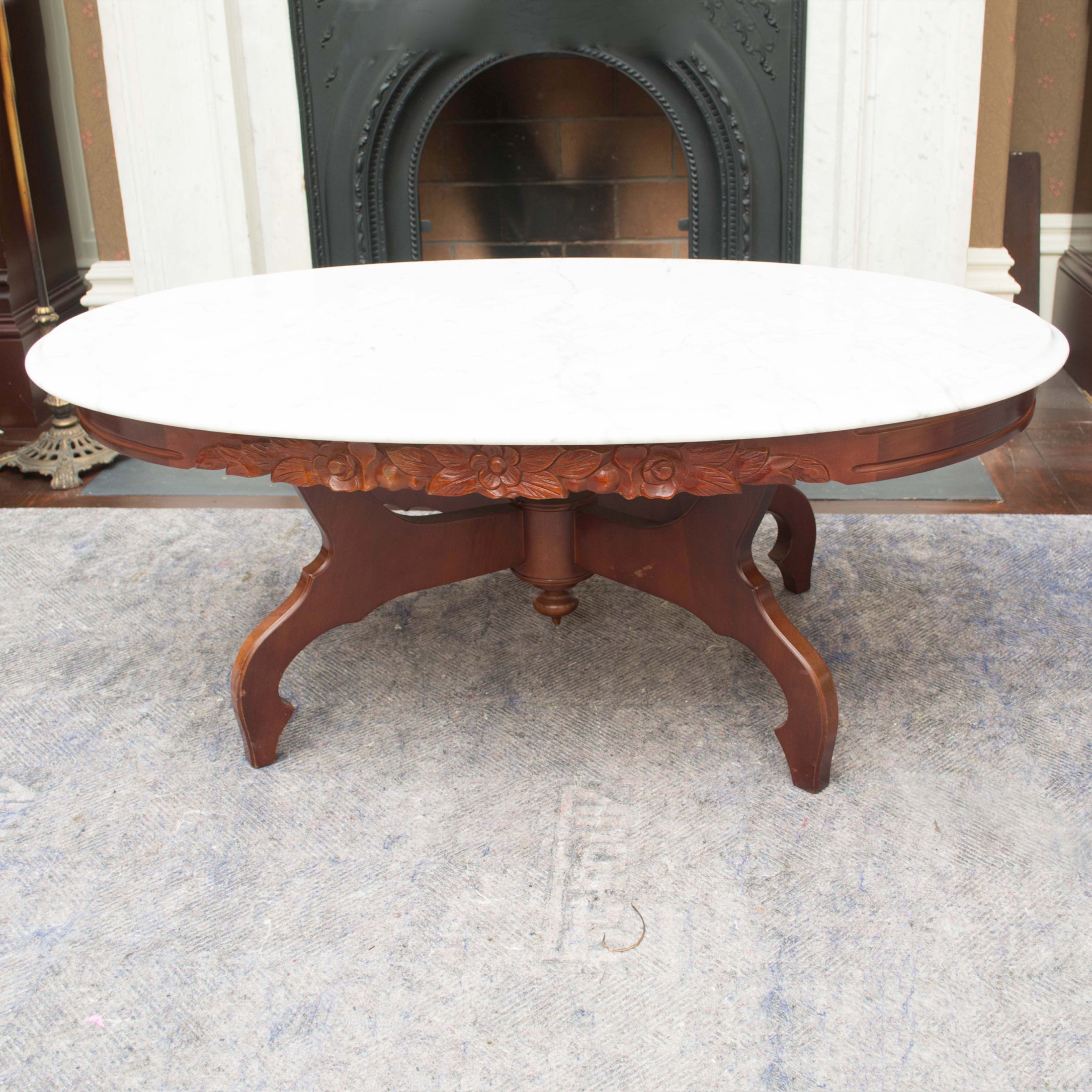 Vintage Victorian Style Granite Top Coffee Table