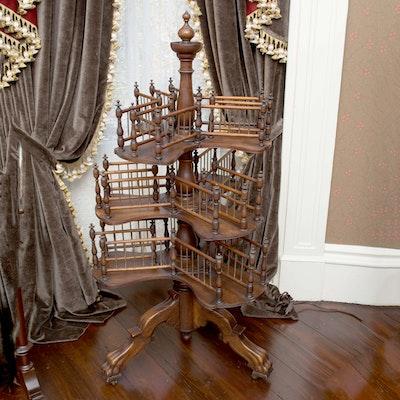 Antique Victorian Walnut Dumbwaiter - Online Furniture Auctions Vintage Furniture Auction Antique