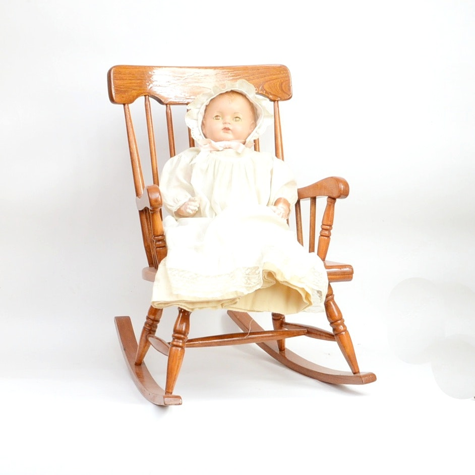 Child's Oak Rocking Chair and Antique Doll