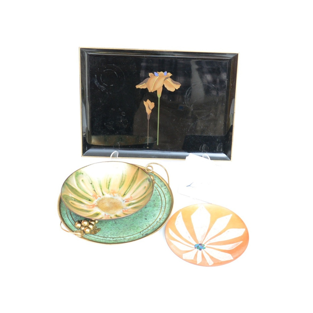 Vintage Enameled Dishes and Serving Tray