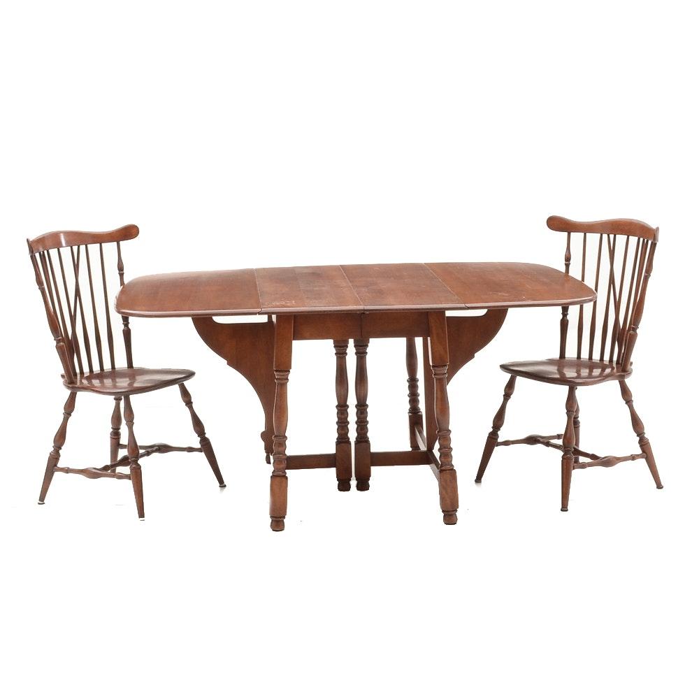 Vintage Drop-Leaf Table with Heywood Wakefield Chairs