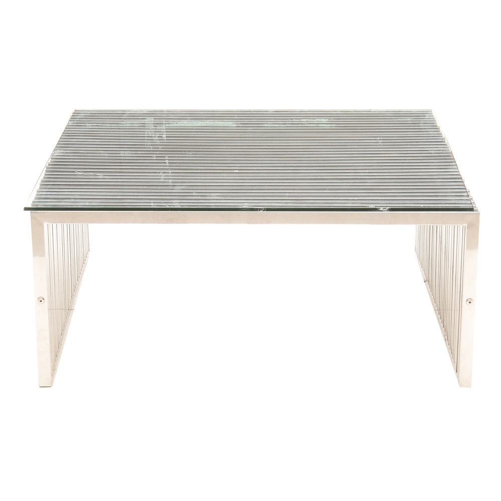 Modway Glass and Stainless Steel Coffee Table