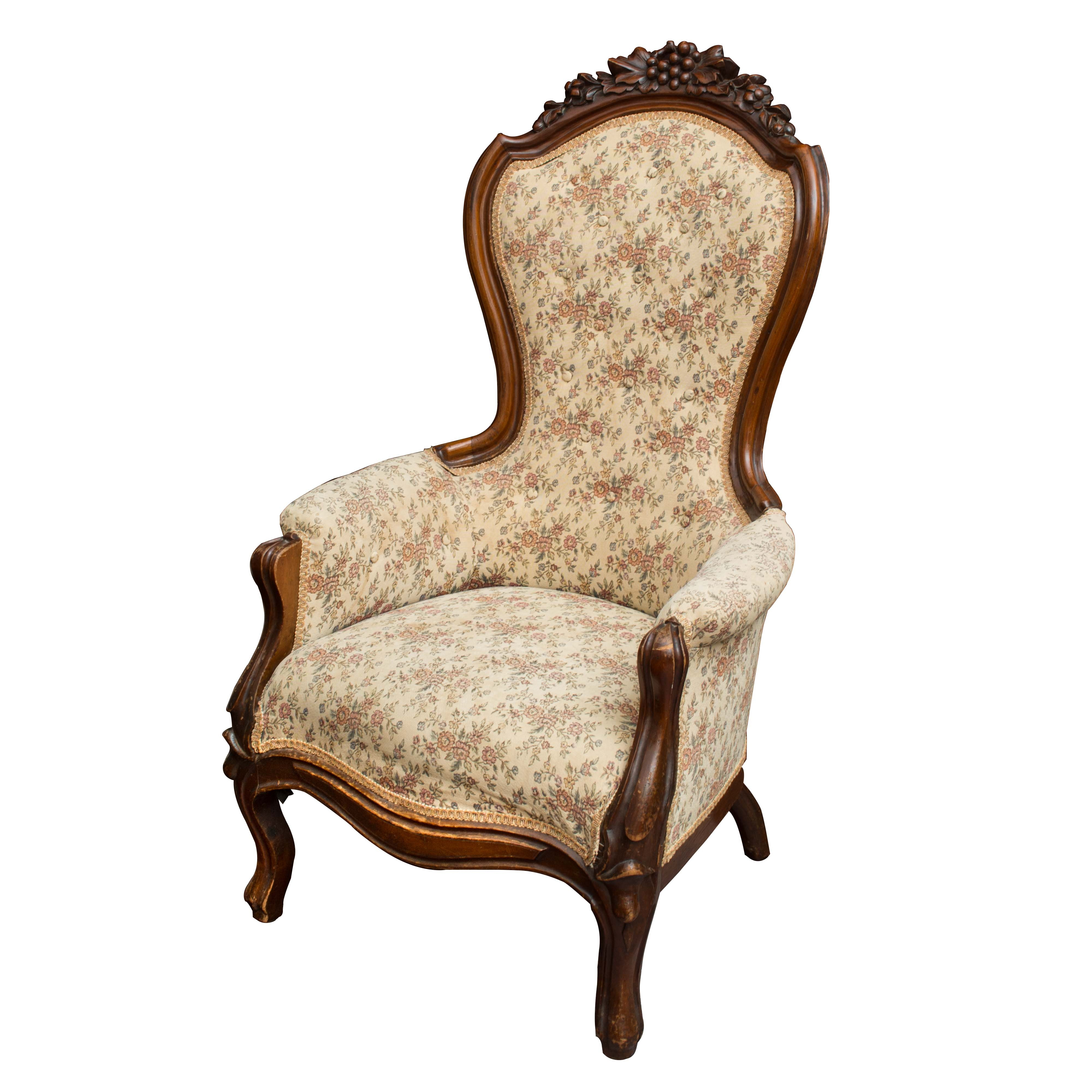 Victorian Style Upholstered Armchair with Floral Print