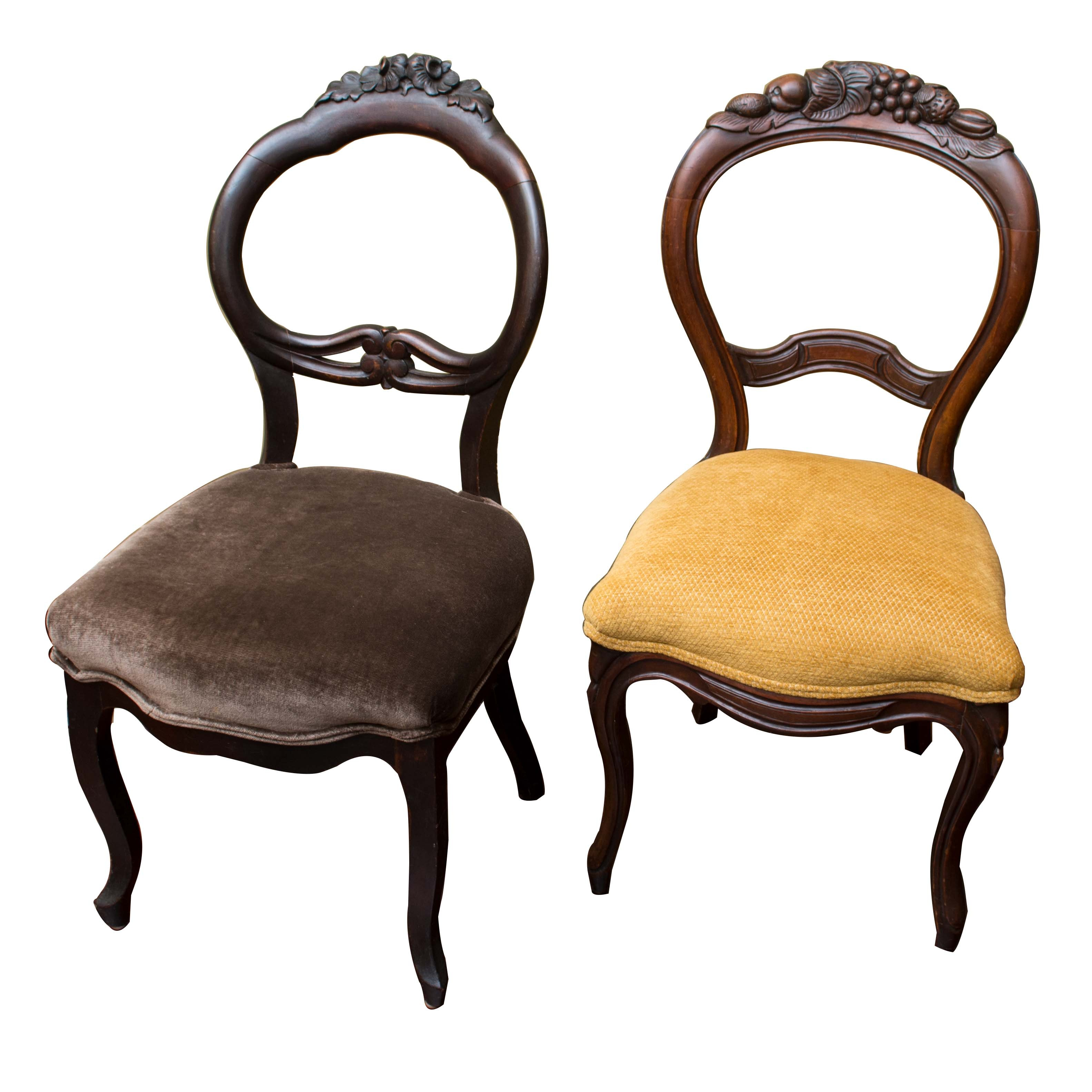Two Mahogany Rococo Revival Side Chairs