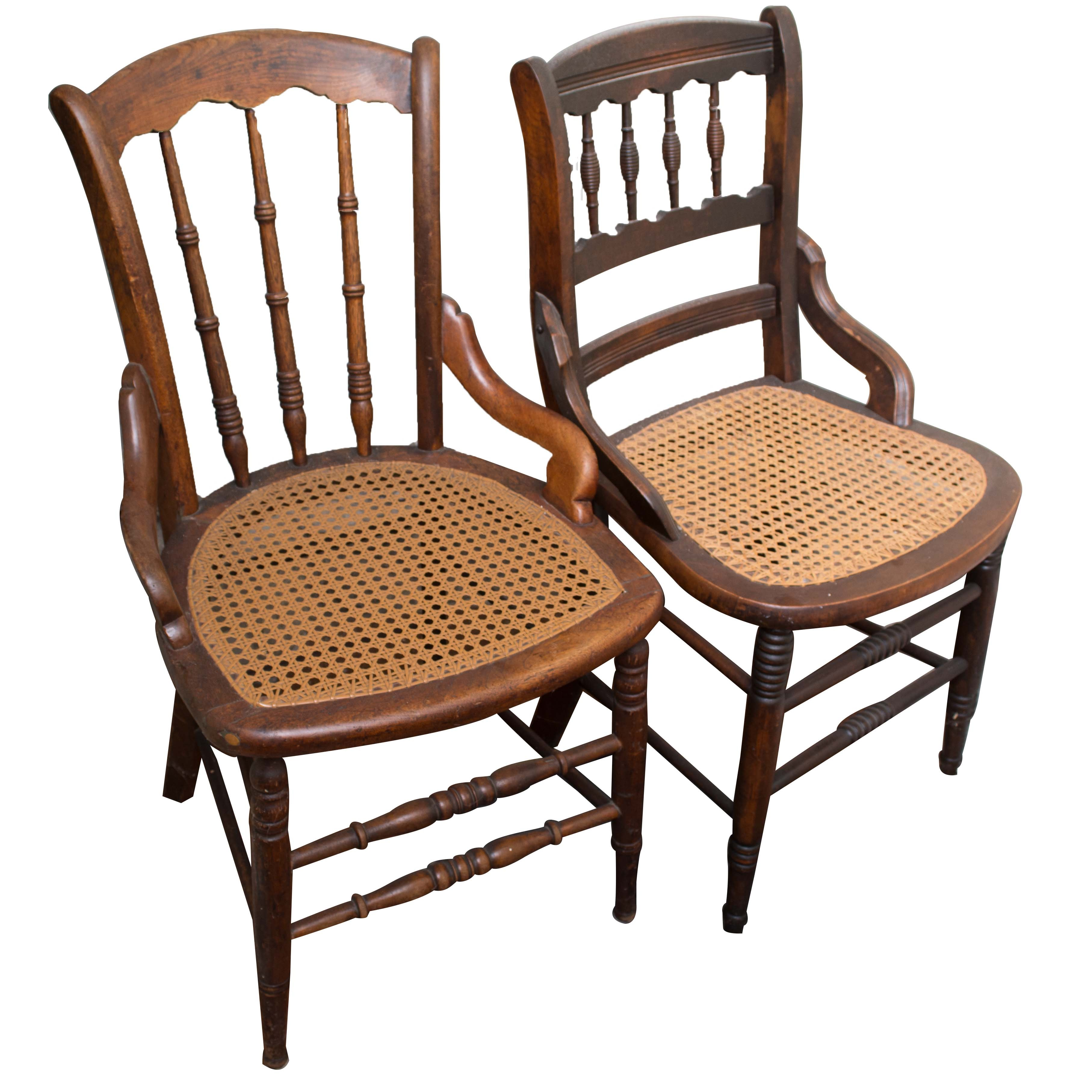 Vintage Walnut Caned Side Chairs