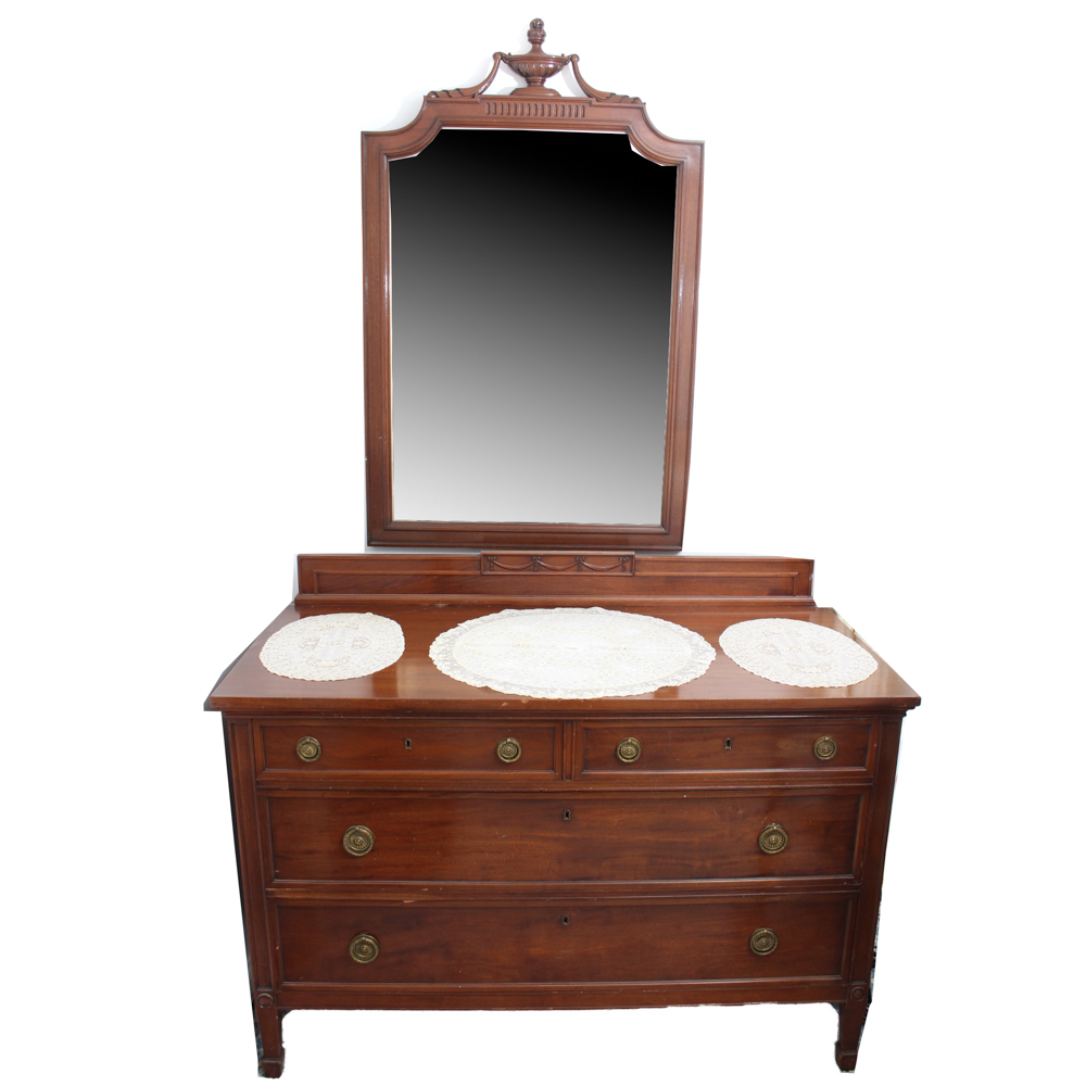 Neo classical style dresser with mirror