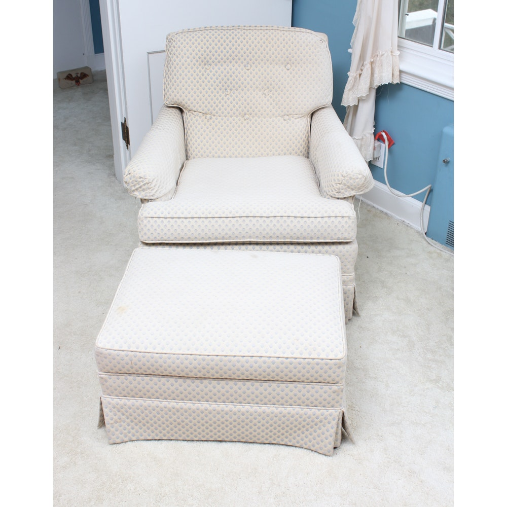 Vintage Upholstered Armchair And Ottoman By Silver Craft ...