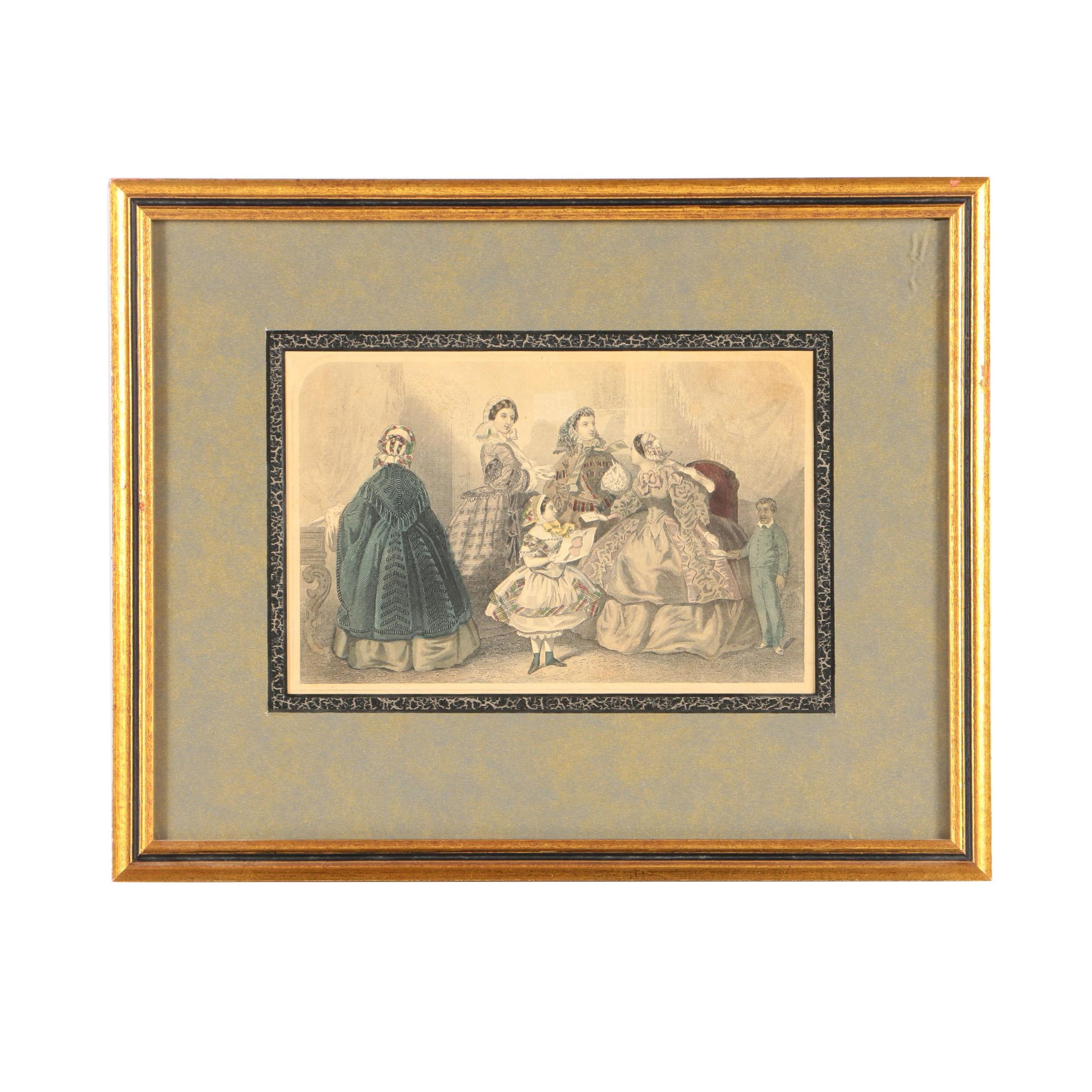 """Hand-Colored Engraving from Godey's Ladies' Book """"Here's Another Valentine"""""""