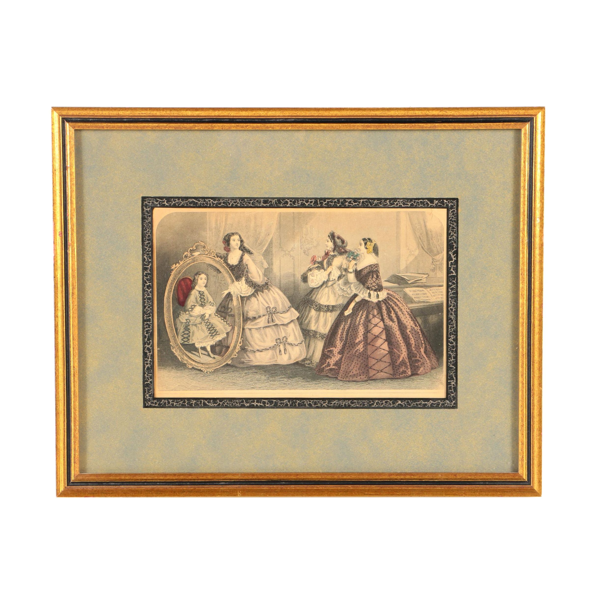 Hand-Colored Engraving on Paper Fashion Plate from Godey's Lady's Book