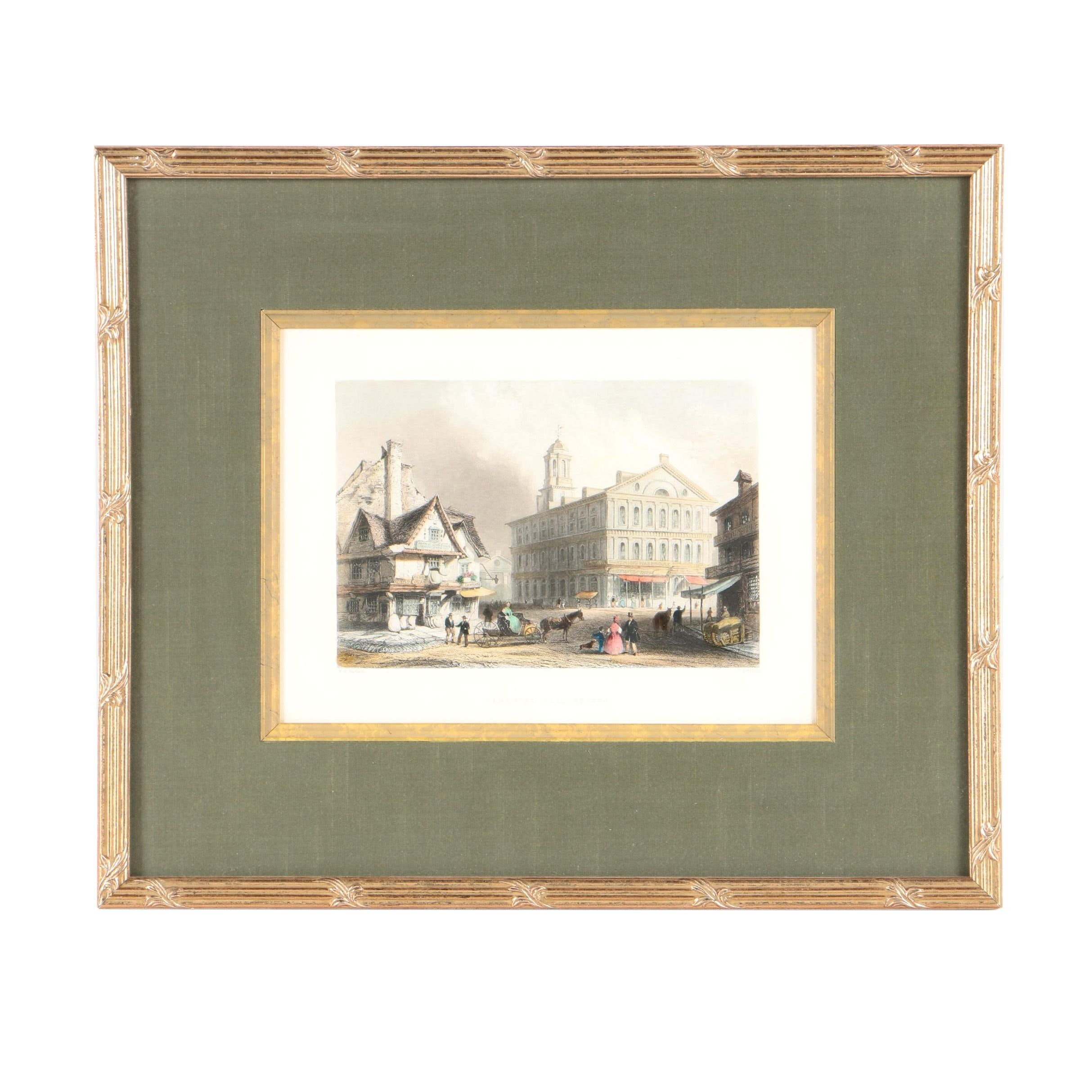 """H. Griffiths and W.H. Bartlett Hand-Colored Engraving """"Faneuil Hall, Boston"""""""