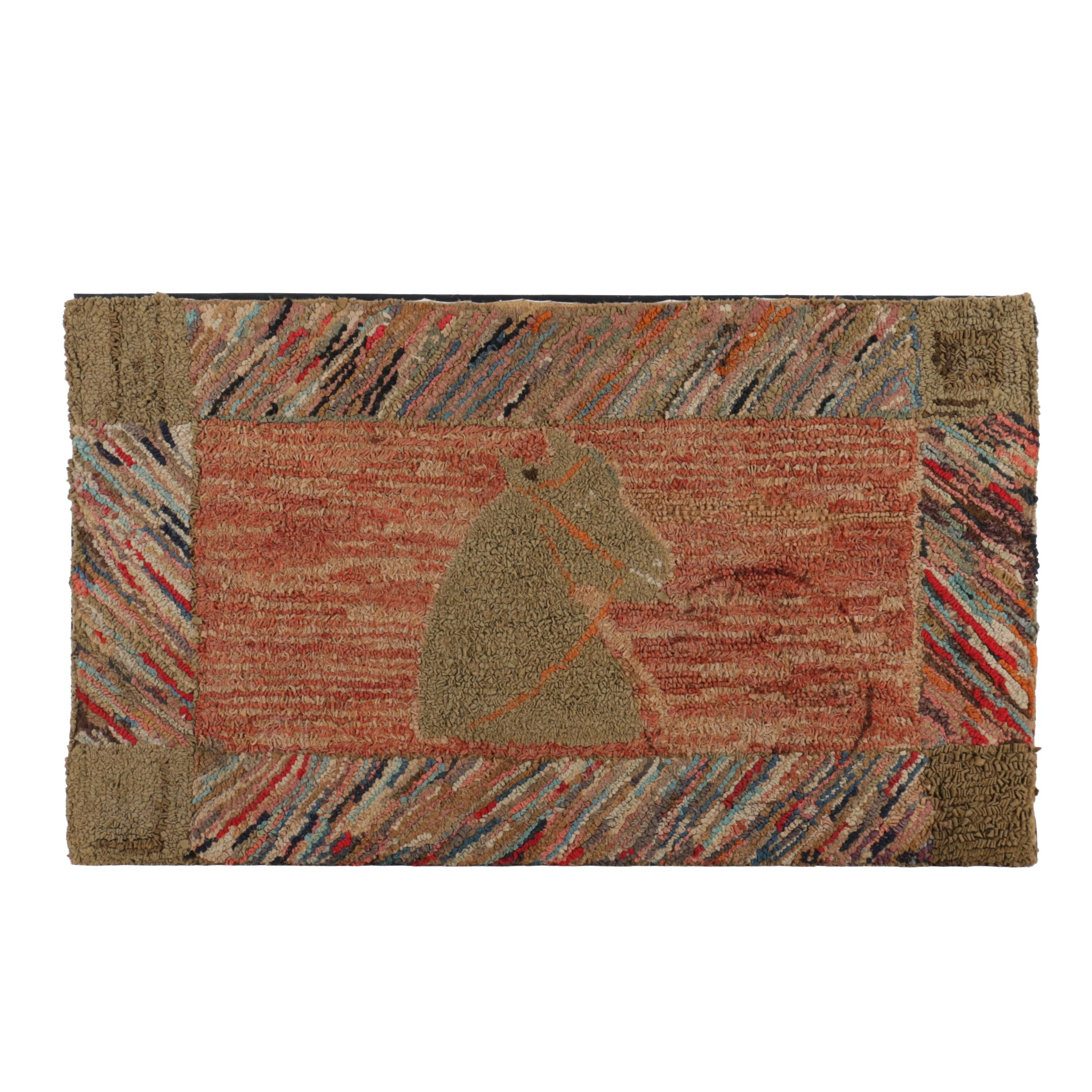 Primitive Americana Hooked Rug With Horse Head Motif
