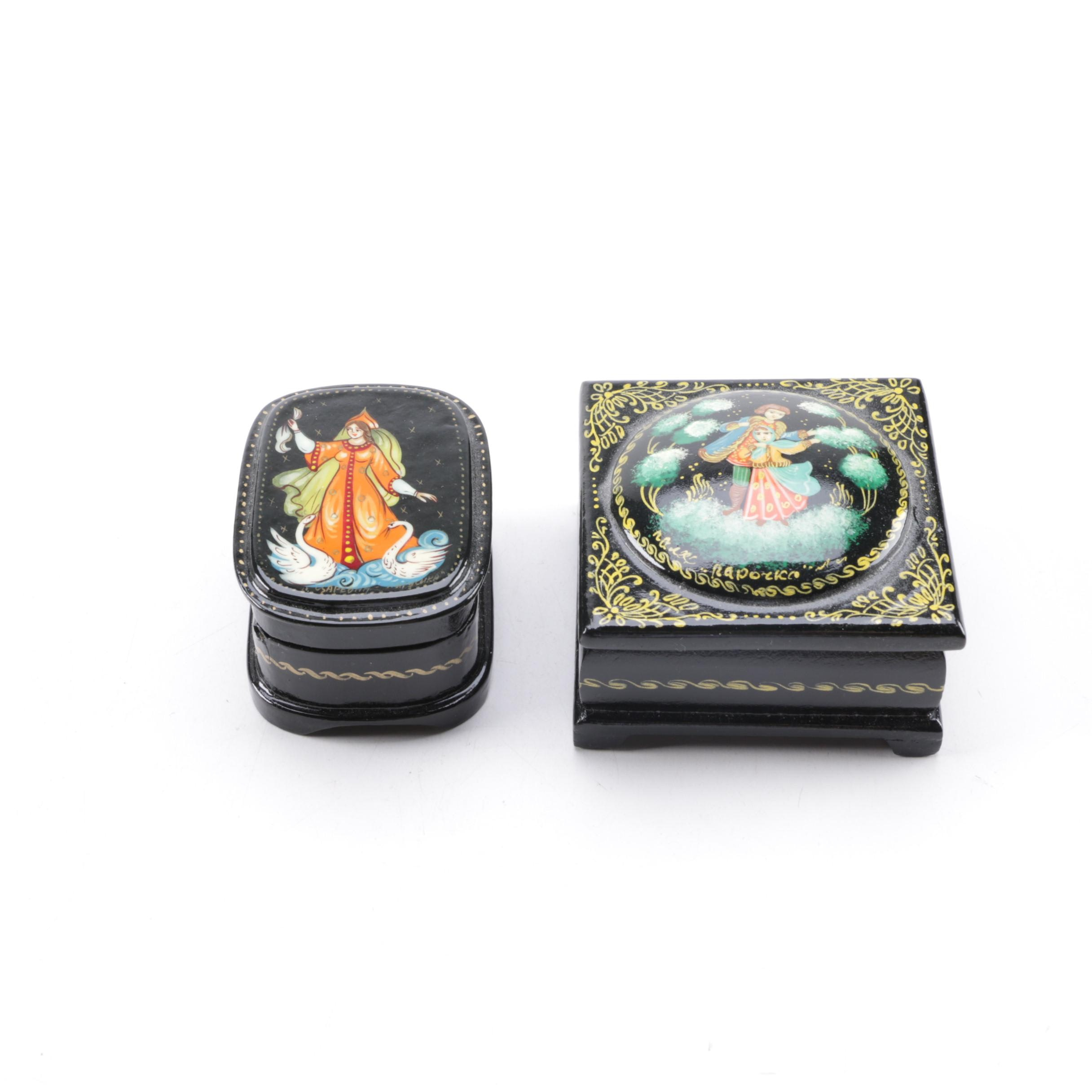 A Pair of Black Lacquer Russian Trinket Boxes