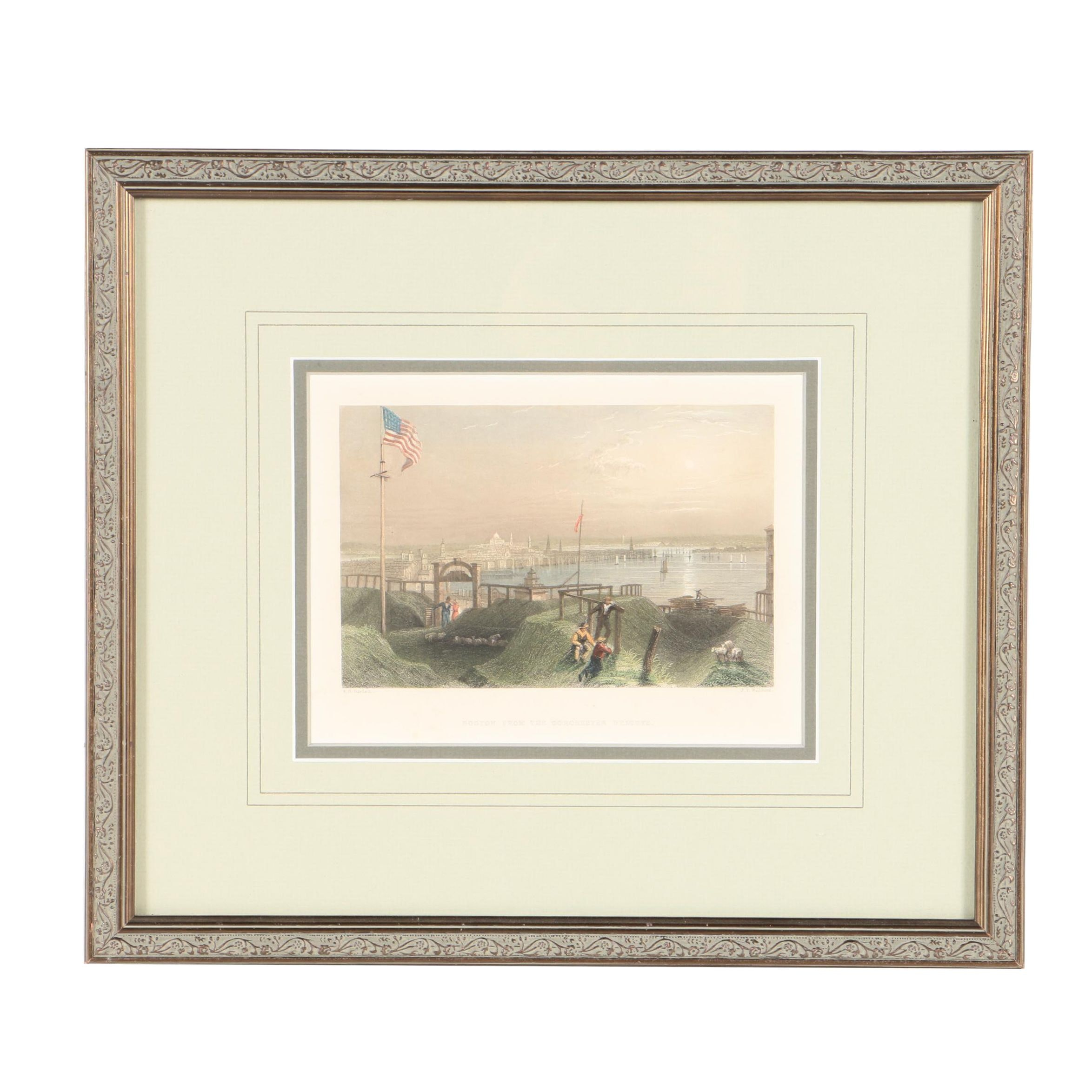 """James T. Willmore Hand Colored Engraving """"Boston From The Dorchester Heights"""""""