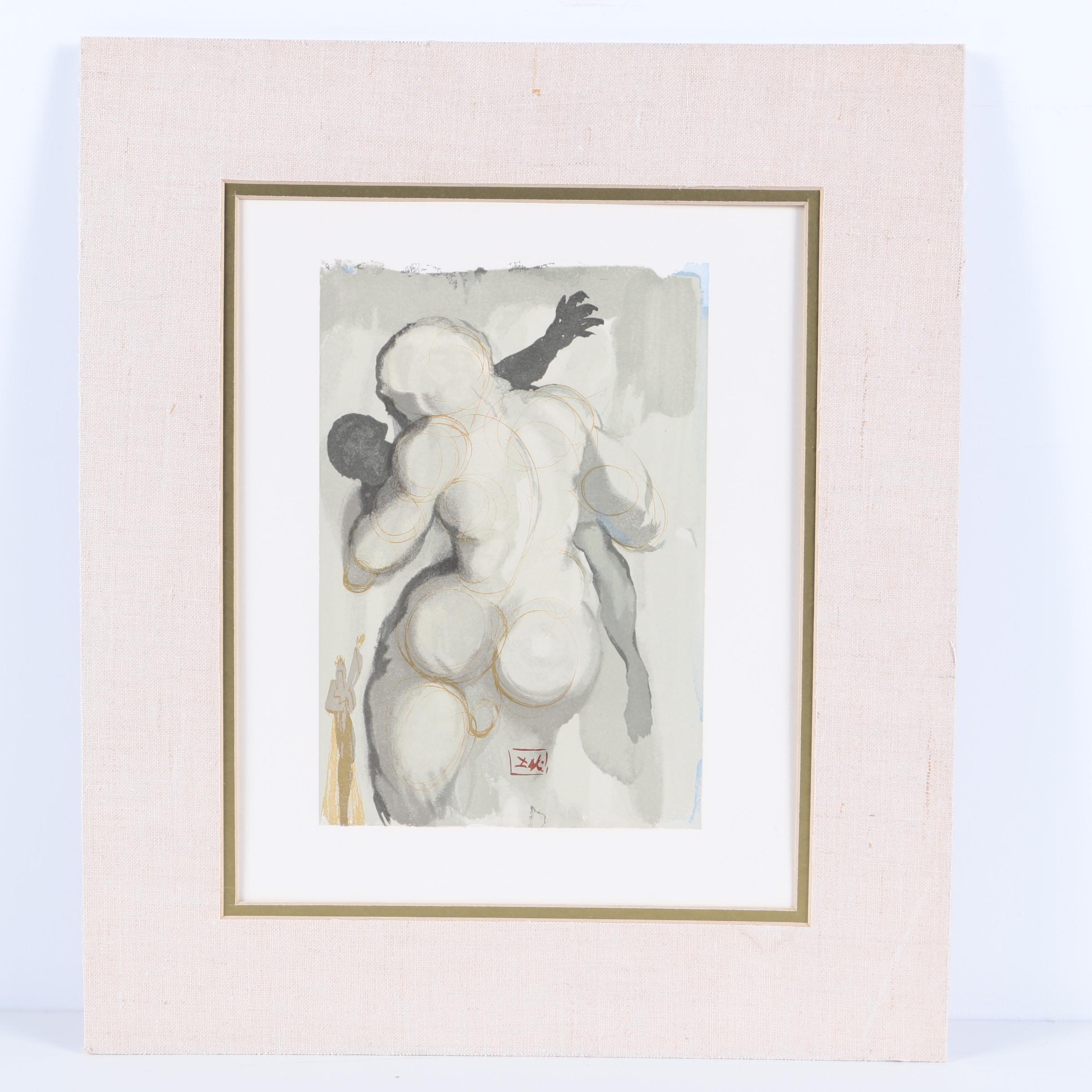 "Salvador Dali Wood Engraving ""Purgatory Canto 6"""