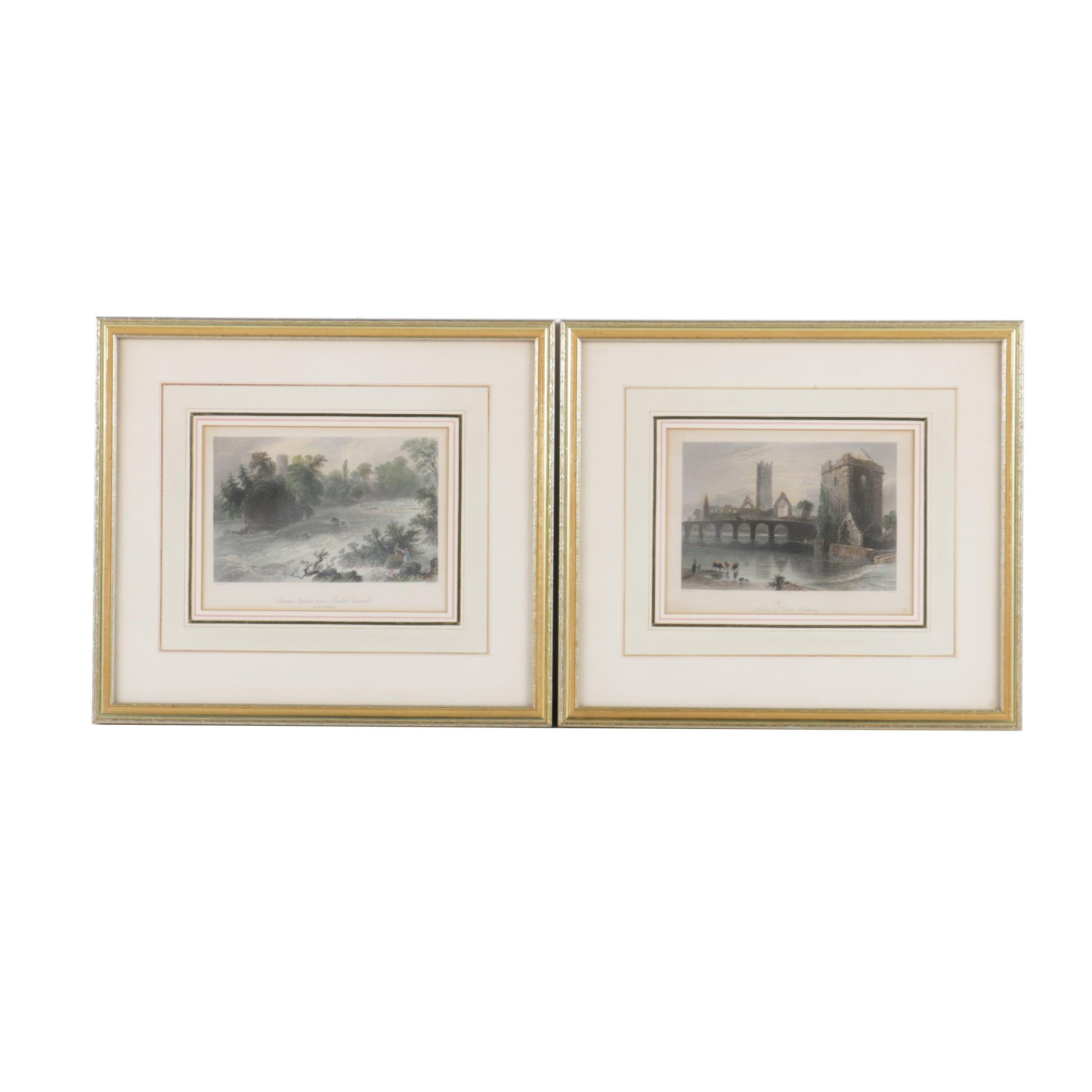 Antique Hand Colored Etchings on Paper of Irish Castle Ruins