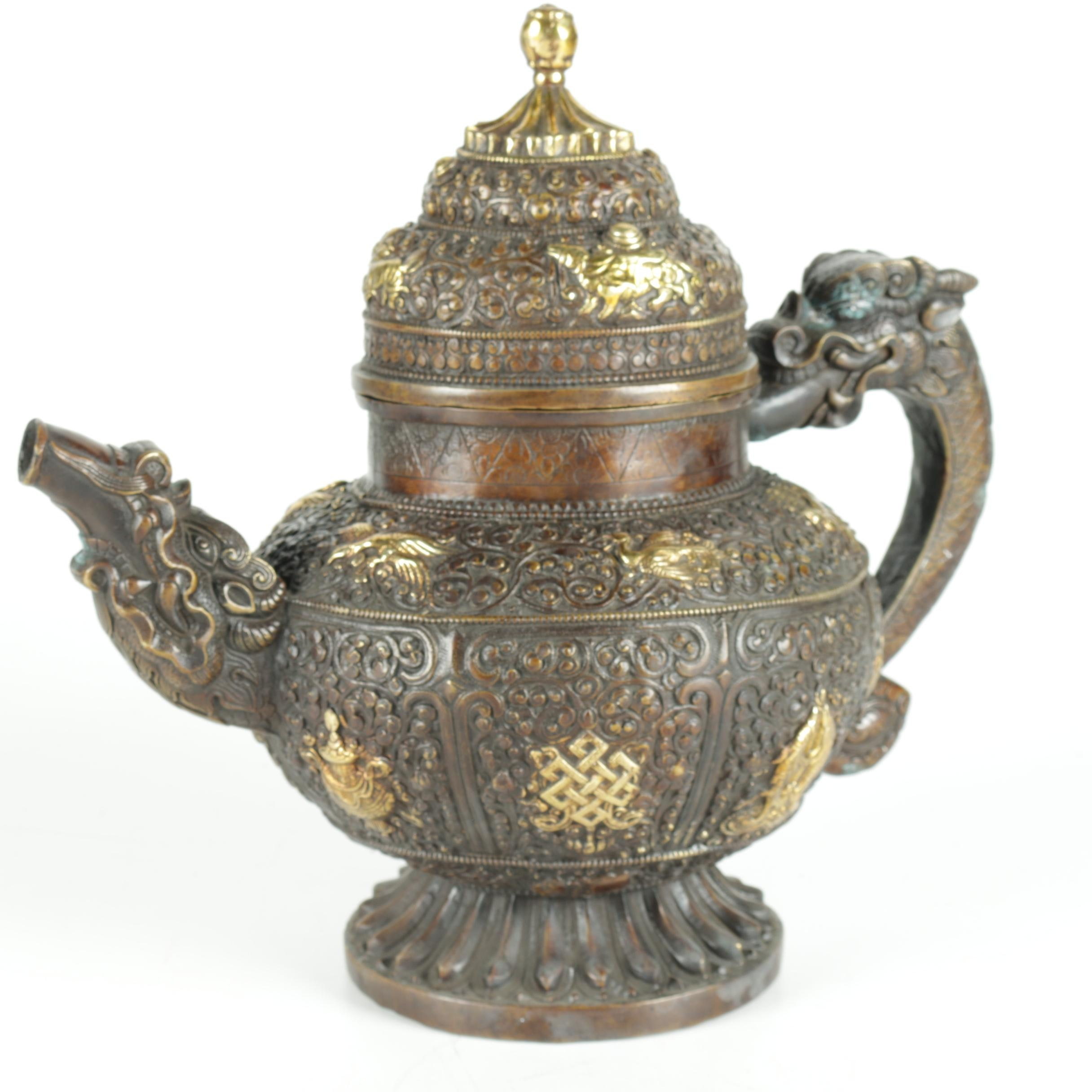 """Chinese Patinated """"Dragon"""" Brass Teapot"""