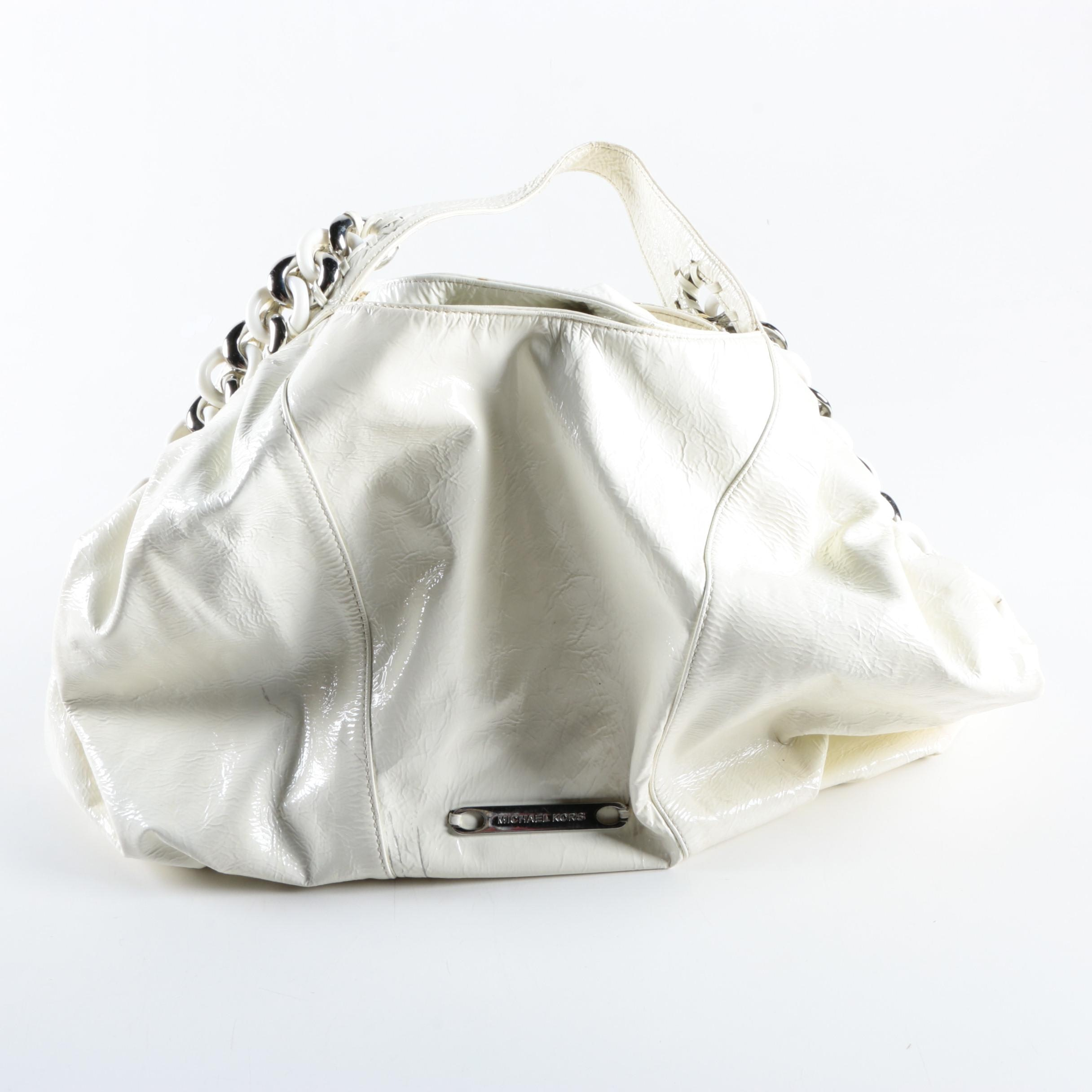 Michael Kors White Leather Hobo Bag