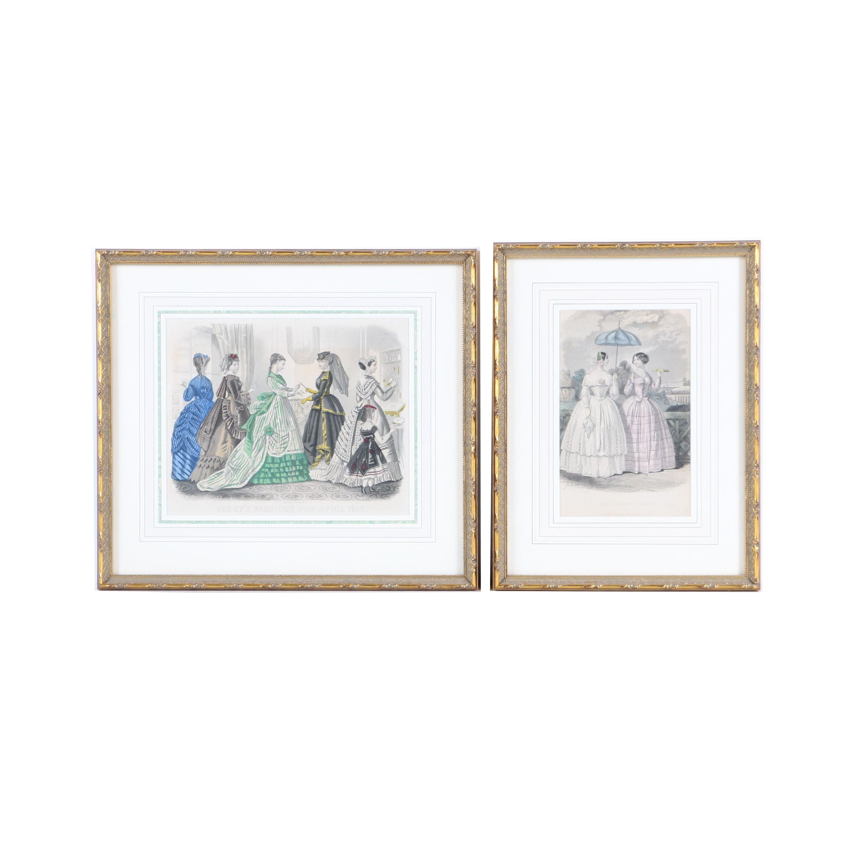 """Hand Colored Engravings on Paper """"Godey's Ladies Fashions"""""""