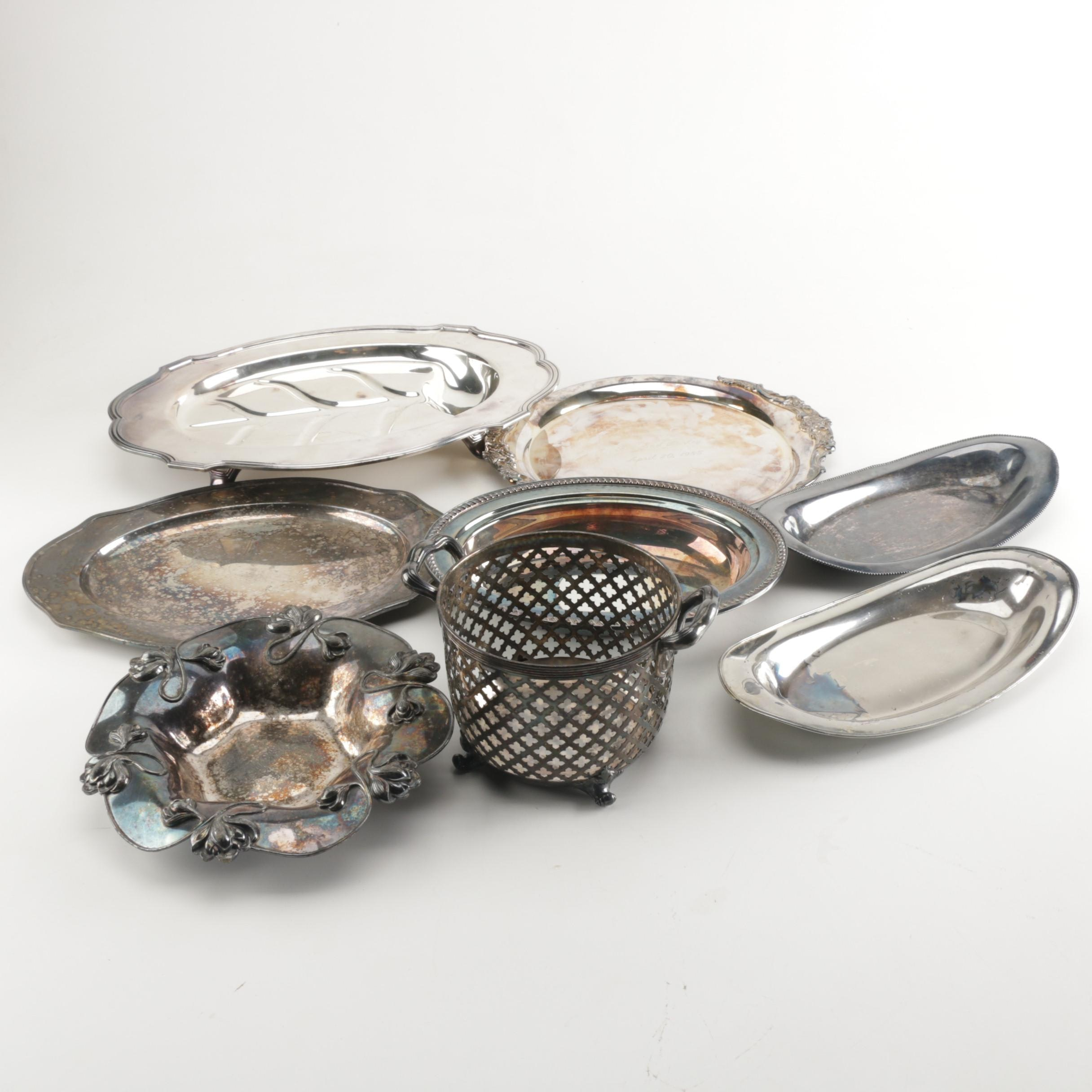 Silver Plate Serving and Breads Trays with Other Silver Plate Dishes