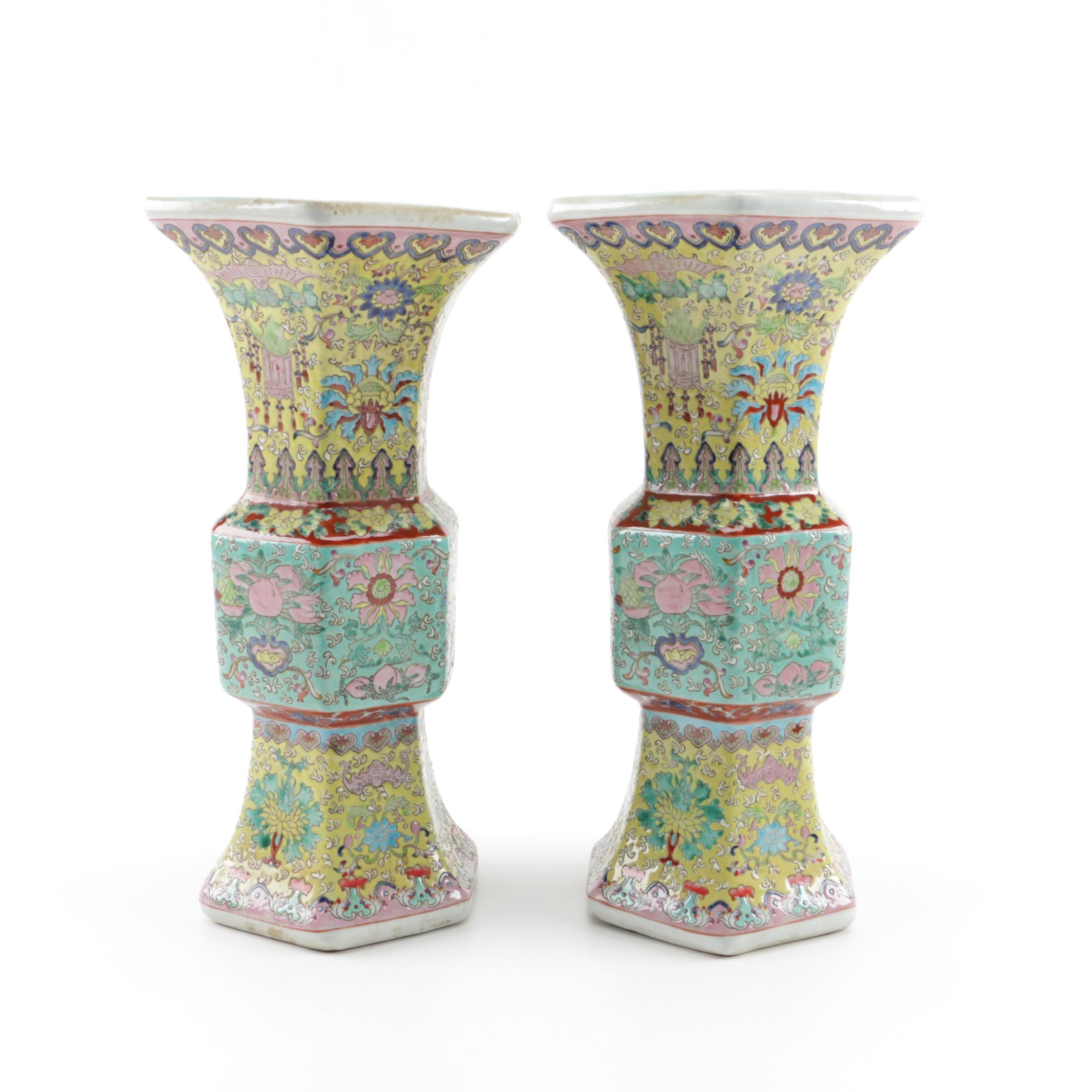 Chinese Enameled Porcelain Beaker Vases
