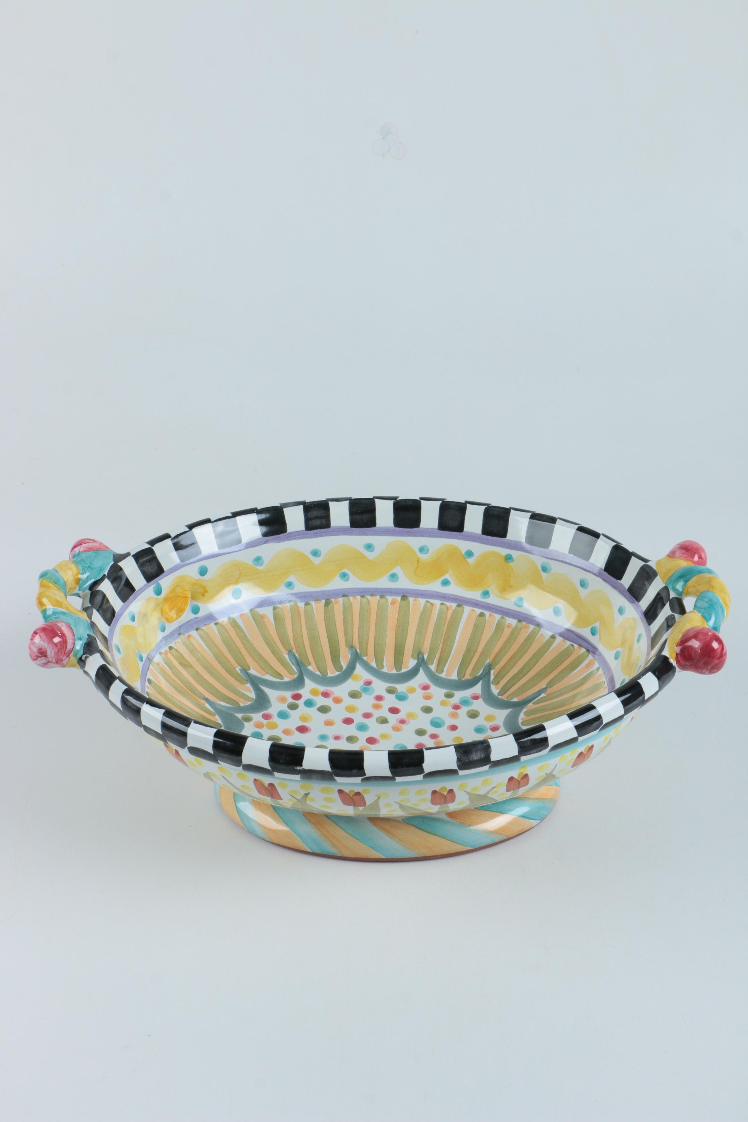 """MacKenzie-Childs """"Odd Fellows"""" Footed Serving Dish"""