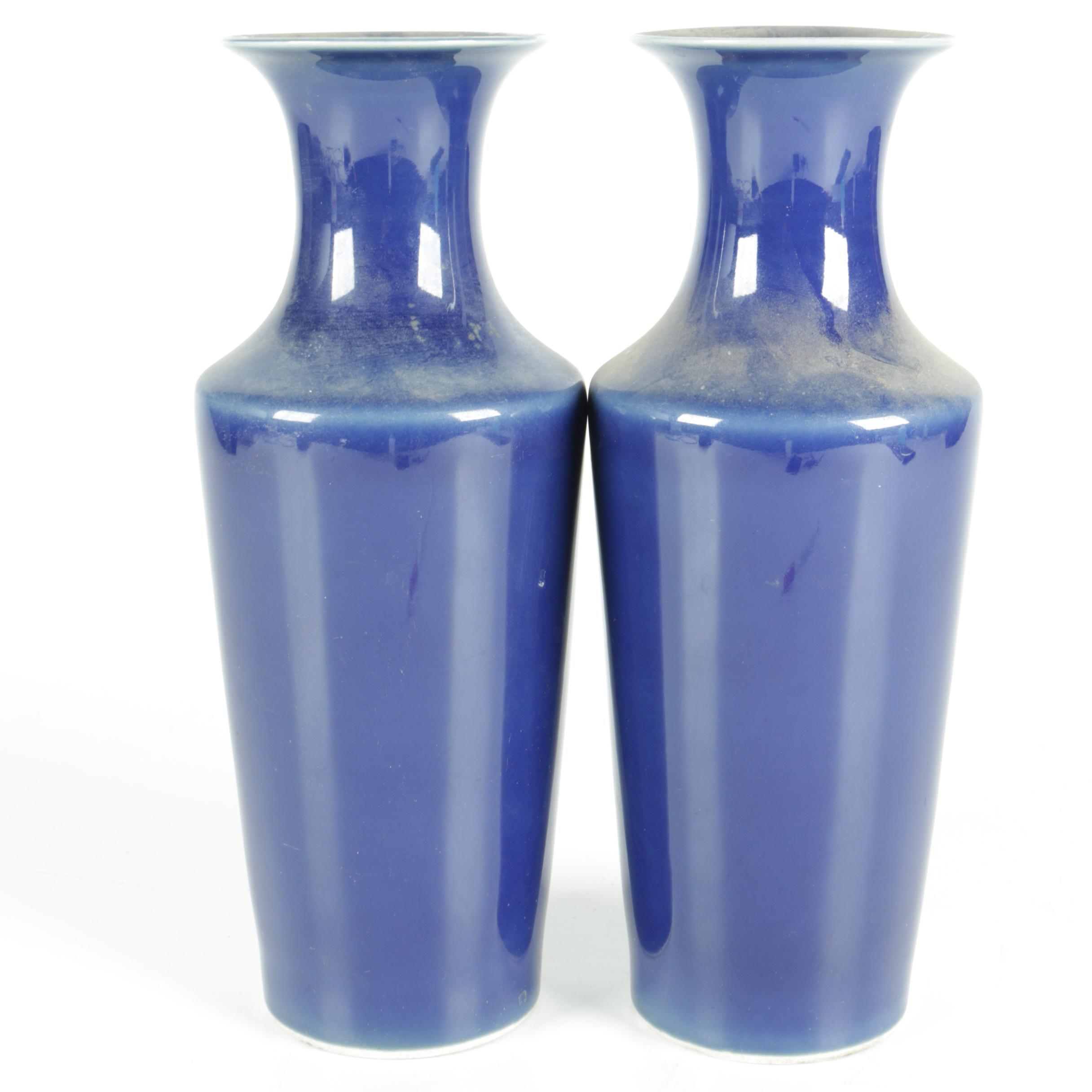 Pair of Monochrome Azure Blue Vases
