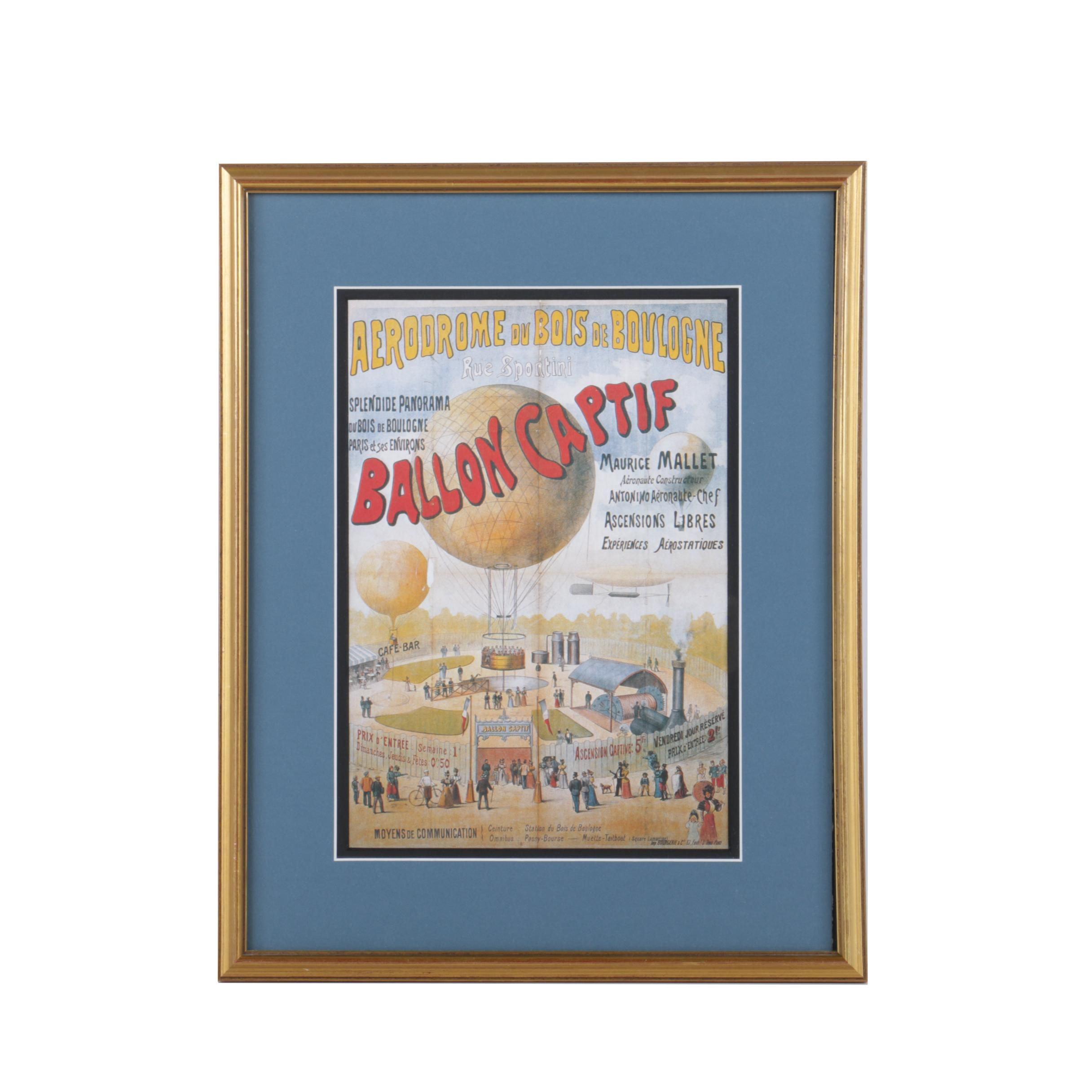 """Offset Lithograph After a Poster for """"Aérodrome du Bois de Boulogne"""""""