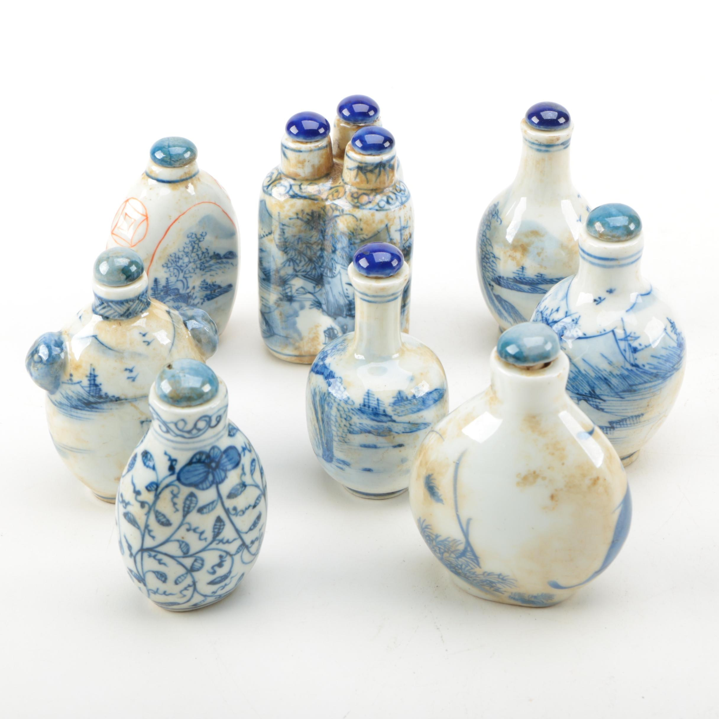 Chinese Blue Ceramic Lidded Snuff Bottles