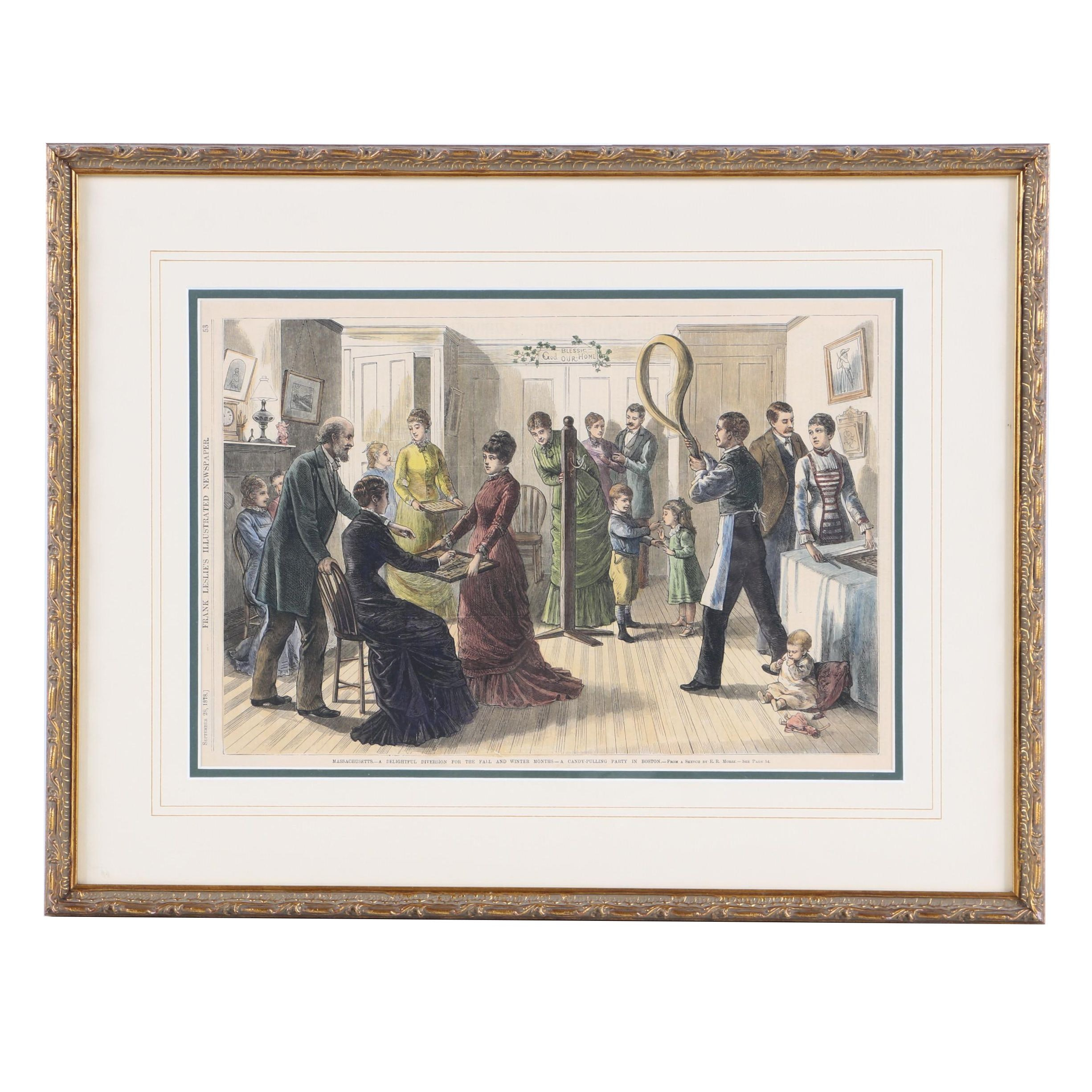 """Hand-Colored Wood Engraving After E.R. Morse """"A Candy-Pulling Party in Boston"""""""