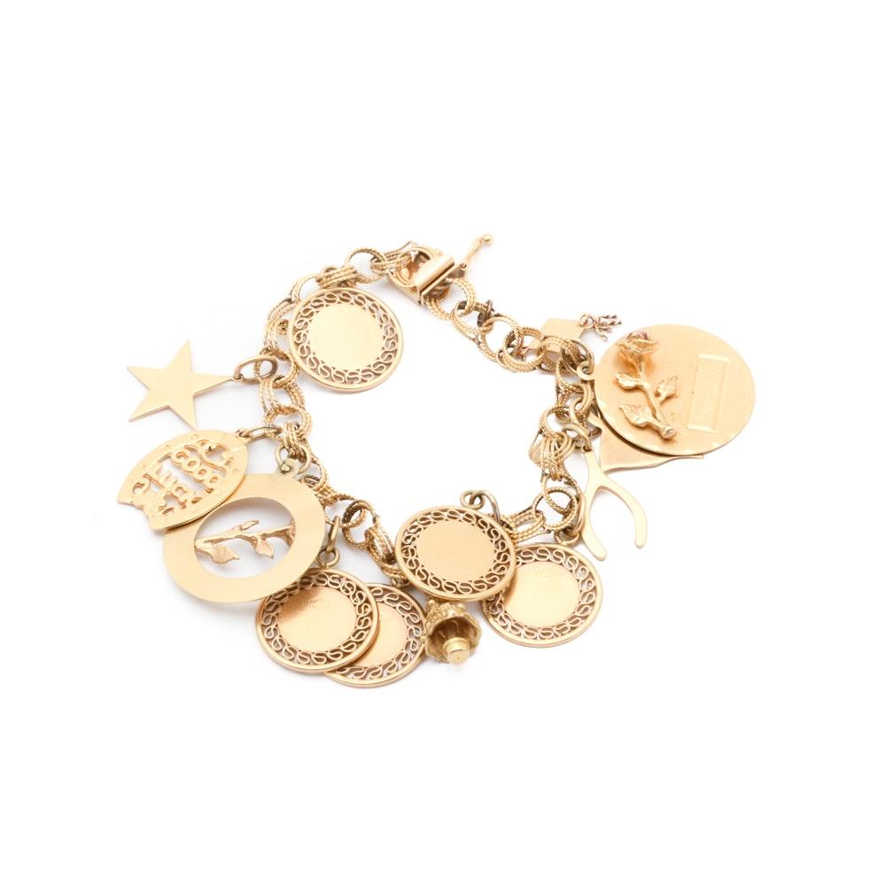 Vintage 14K Yellow Gold Charm Bracelet