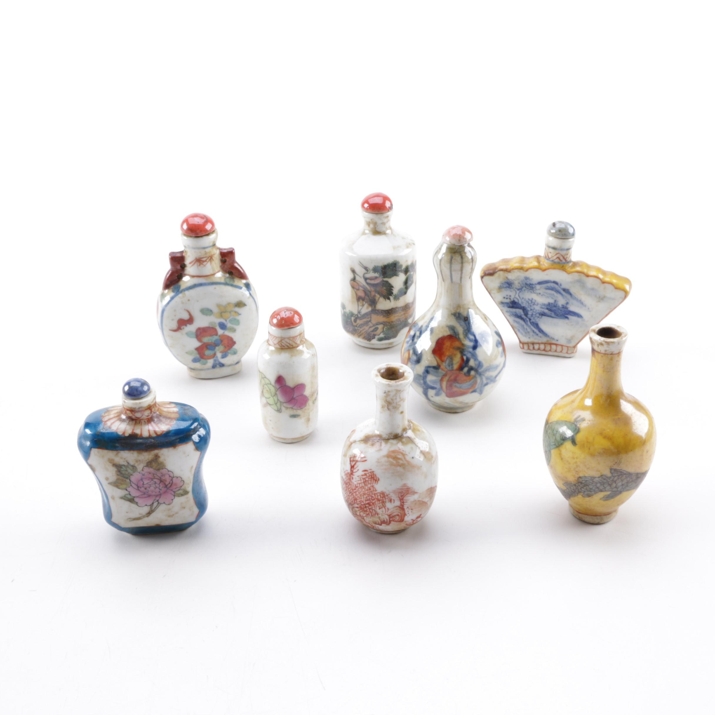 Chinese Ceramic Snuff Bottles Depicting Nature