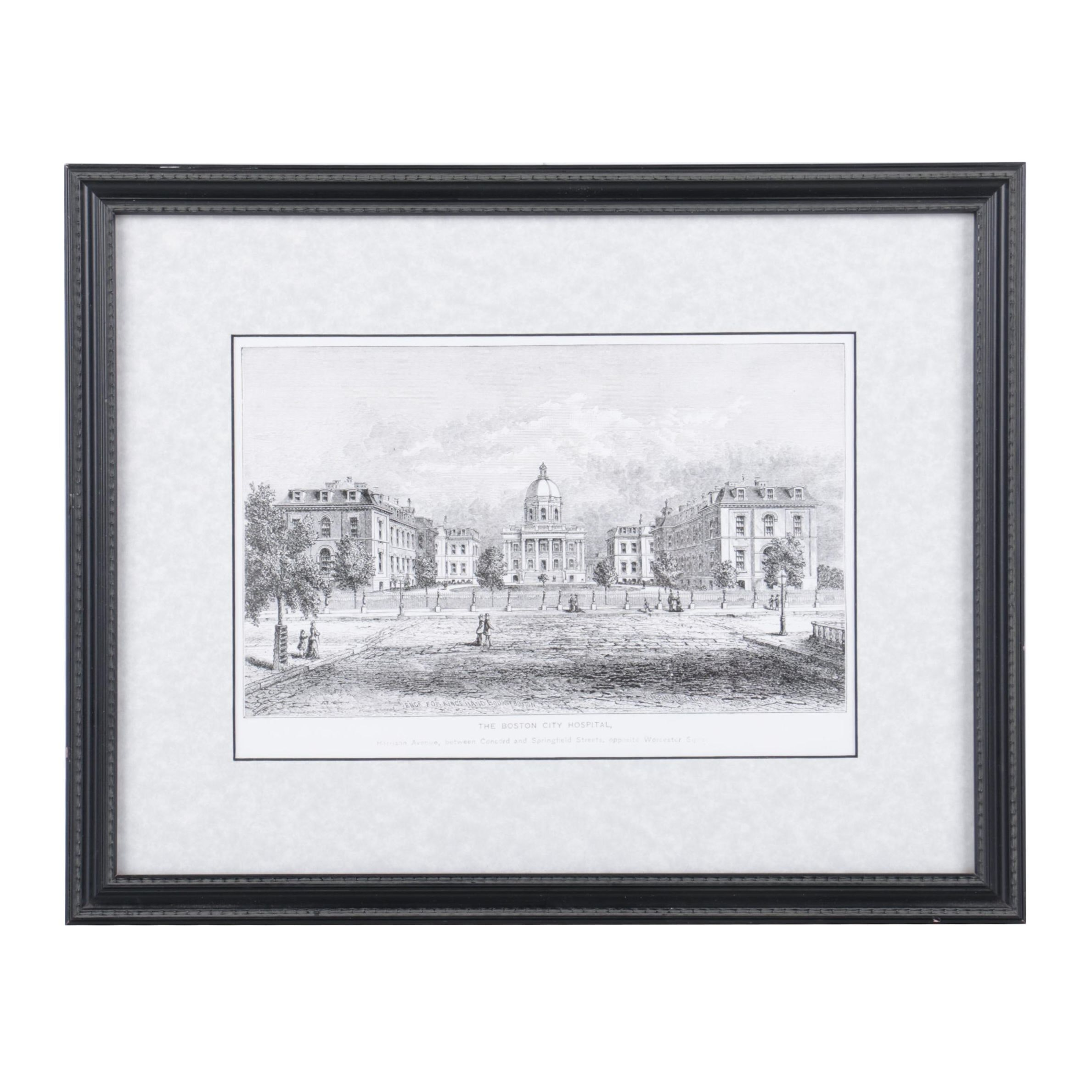 """Reproduction Print on Paper After Kilburn Engraving """"The Boston City Hospital"""""""