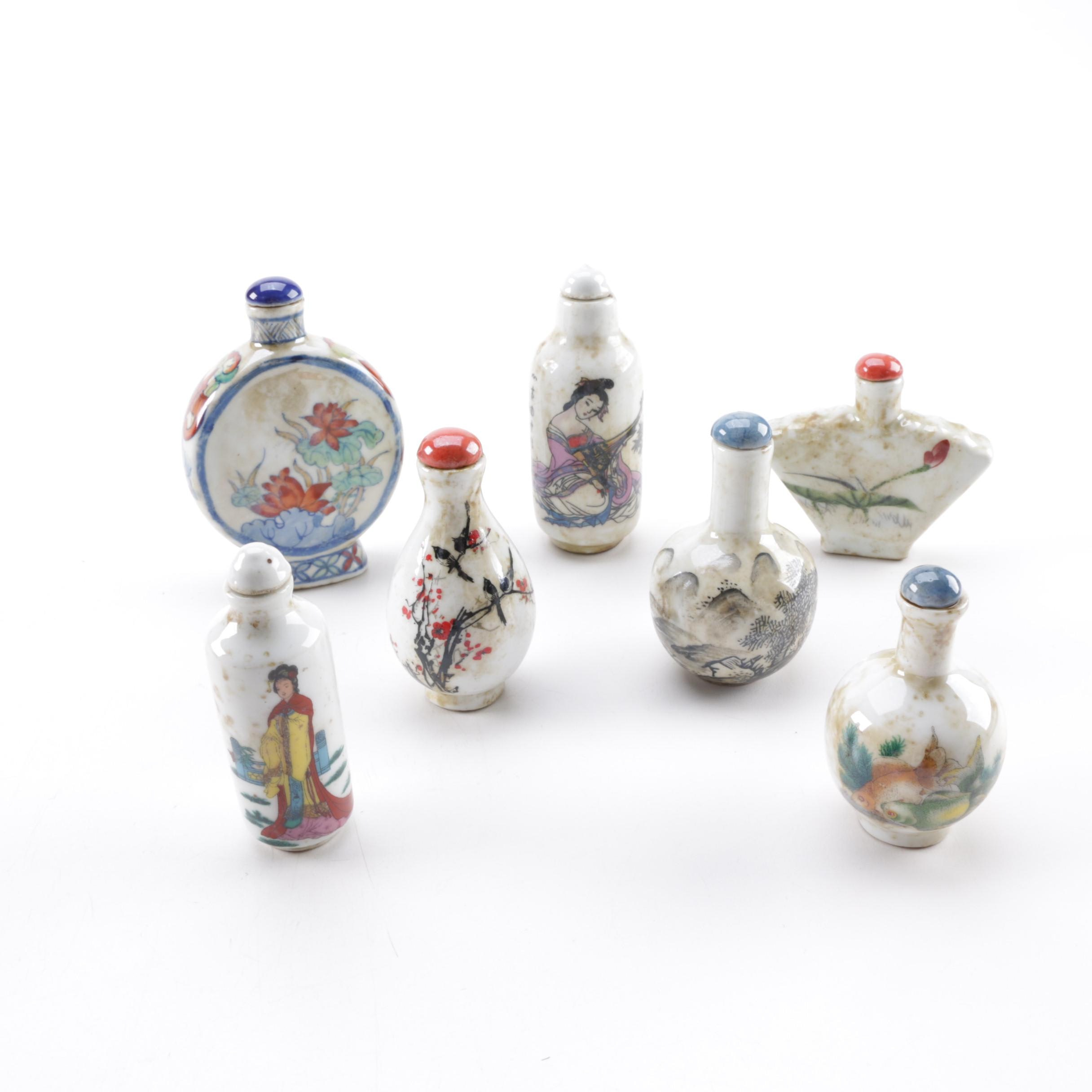Chinese Snuff Bottles with Figural Pieces