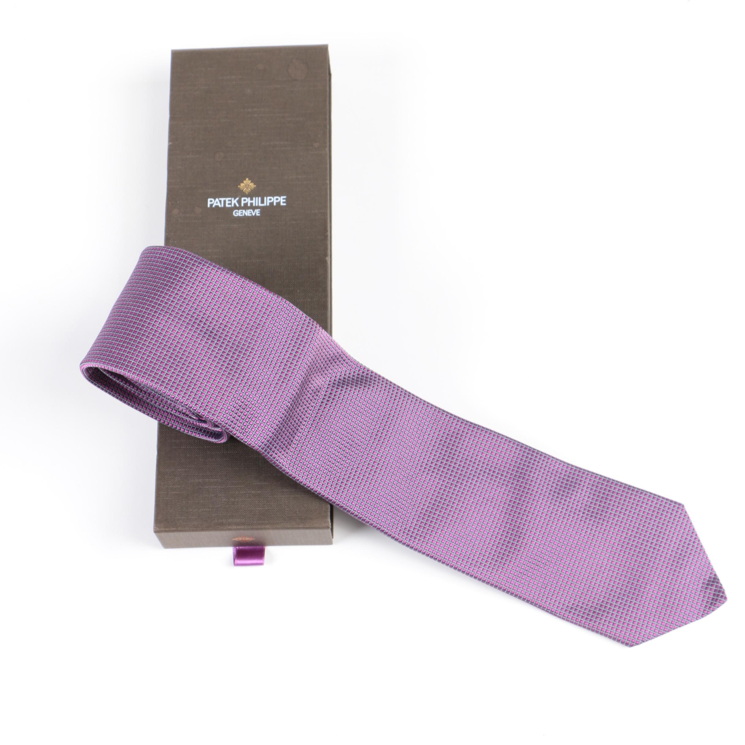 Patek Philippe Geneve Purple and Silver Tone Silk Tie