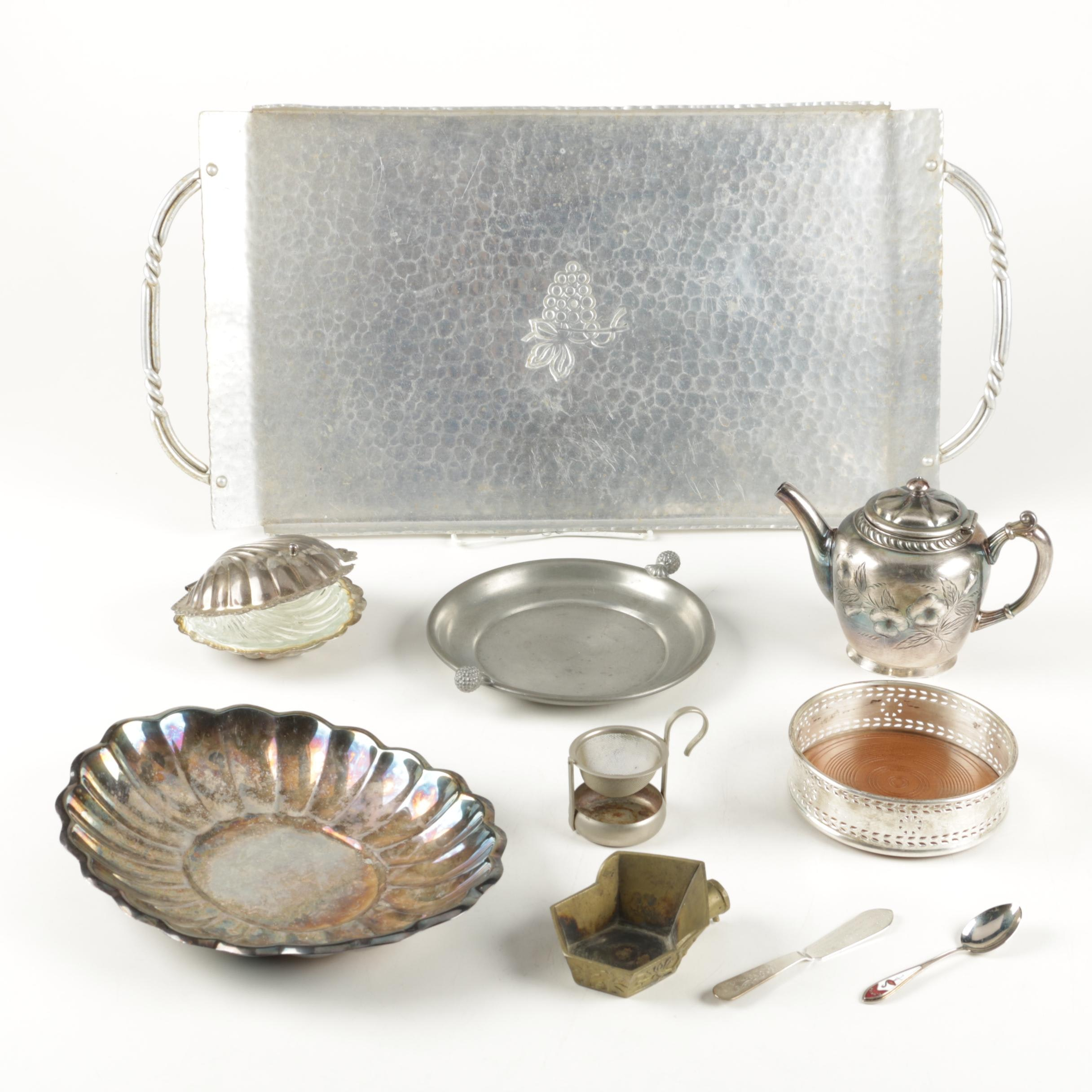 Lenox Kirk Stieff Pierced Rim Silver Plate Wine Coaster and Other Metalware