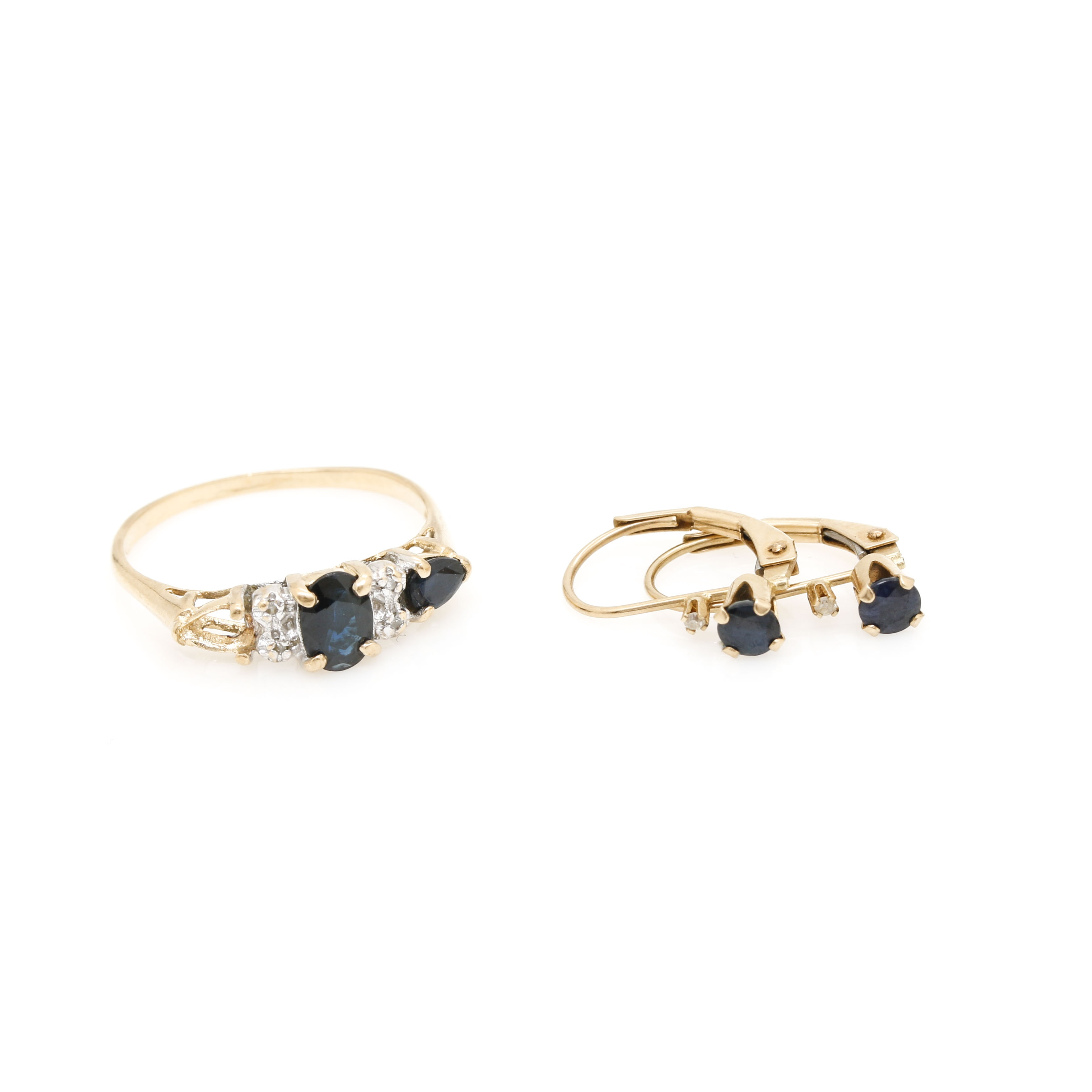 10K Yellow Gold Sapphire and Diamond Earrings and Ring Selection