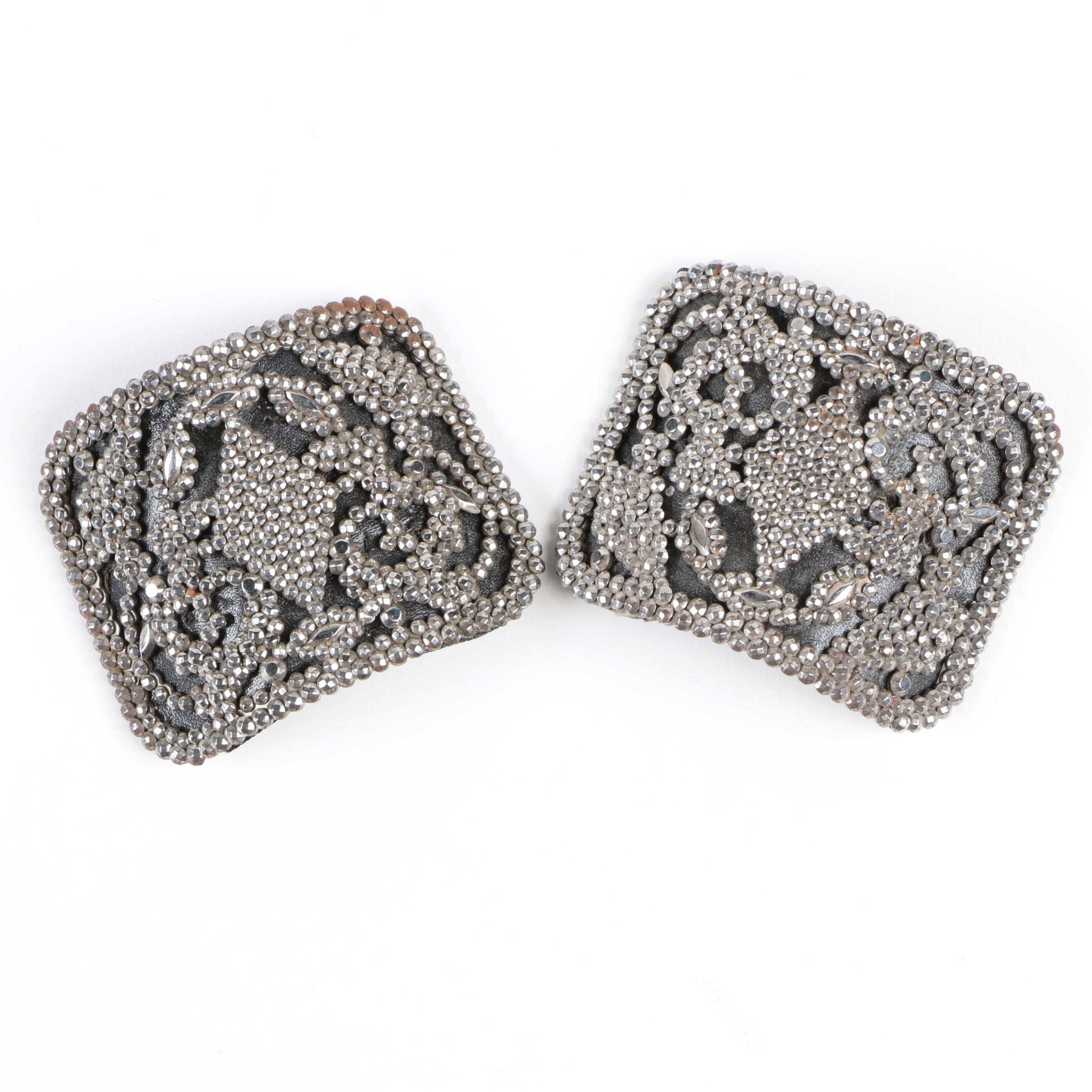 French Cut Steel Rhinestone Barrettes